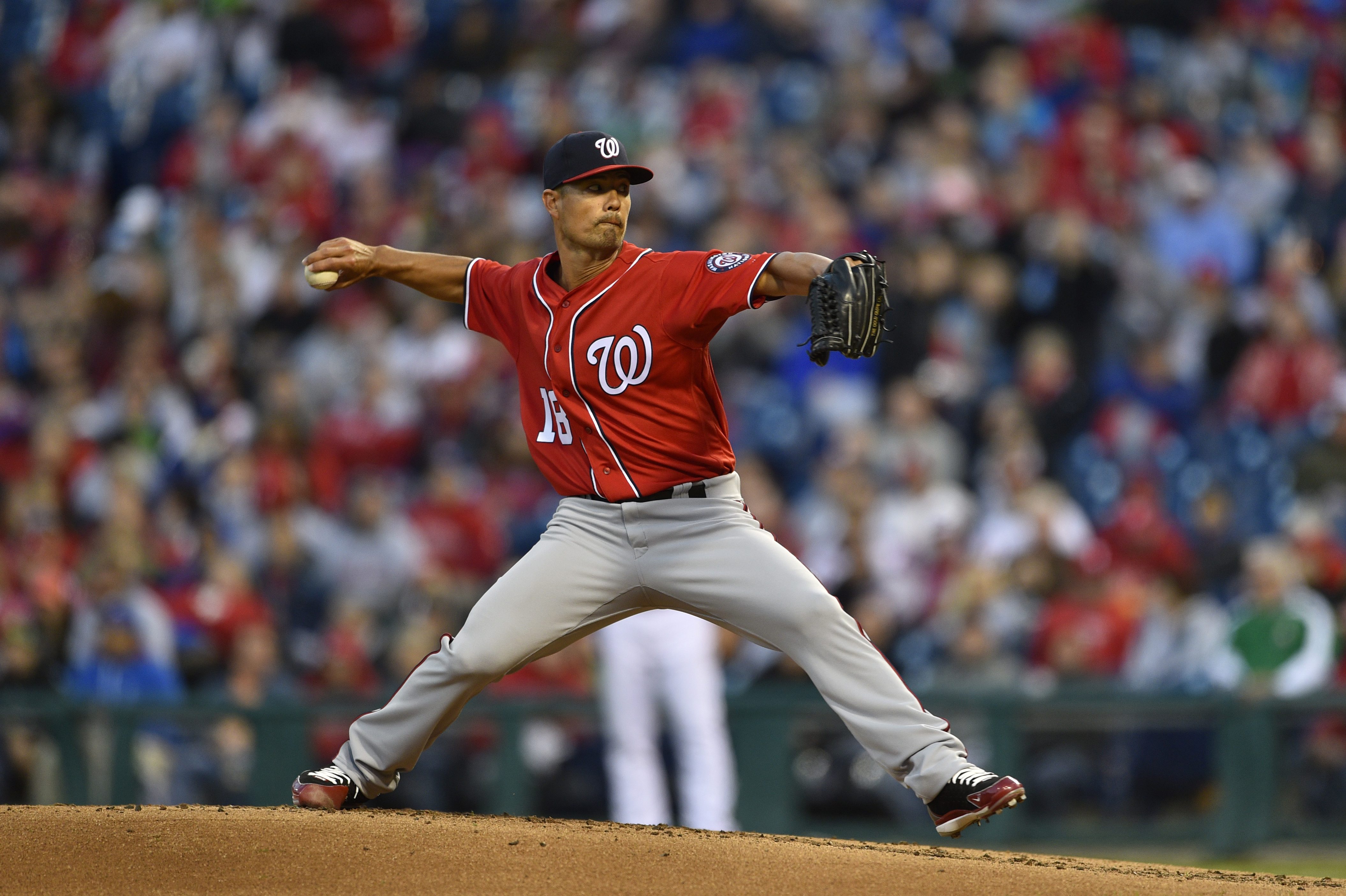 Washington Nationals starting pitcher Jeremy Guthrie in action during a baseball game against the Philadelphia Phillies, Saturday, April 8, 2017, in Philadelphia.