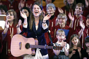 Karen Nielsen-Anson sings along with the Congregation Kol Ami Jewish Children's Choir during the Interfaith Musical Tribute to the Human Spirit at the Tabernacle in Salt Lake City, Utah, Sunday, Feb. 8, 2009. Jeffrey D. Allred, Deseret News