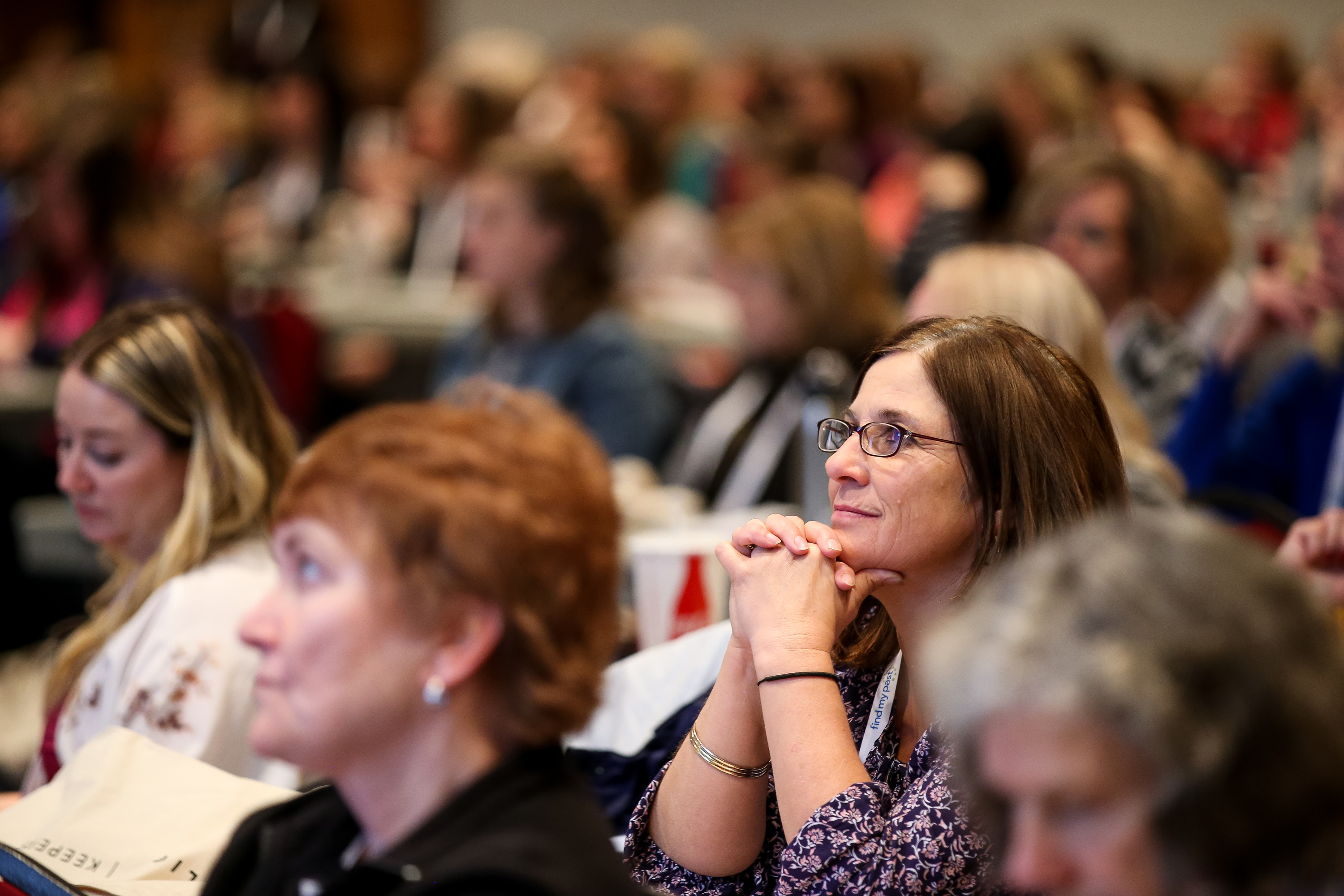 Elizabeth Ann Clark listens during the Light Keepers session at the RootsTech conference at the Salt Palace in Salt Lake City on Friday, March 1, 2019.