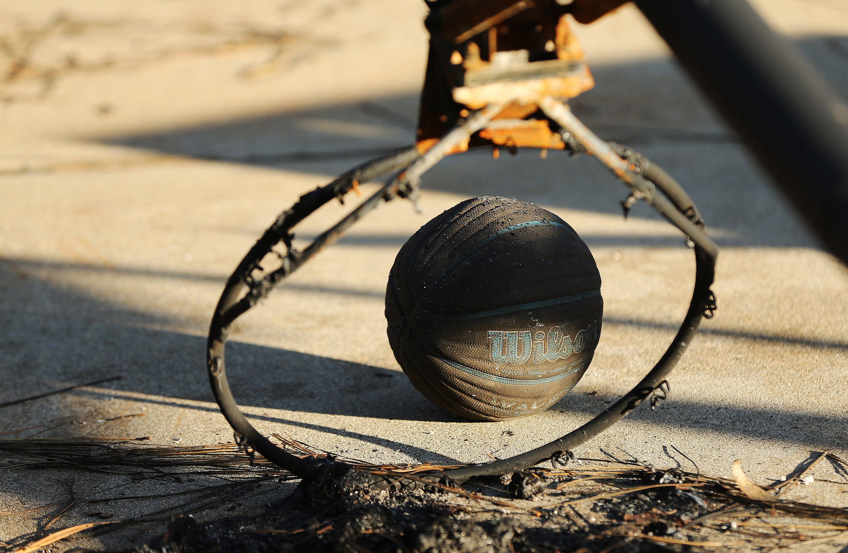 A basketball and hoop in Paradise, California, on Saturday, Jan. 12, 2019, two months after the Camp Fire destroyed more than 18,000 homes and businesses.