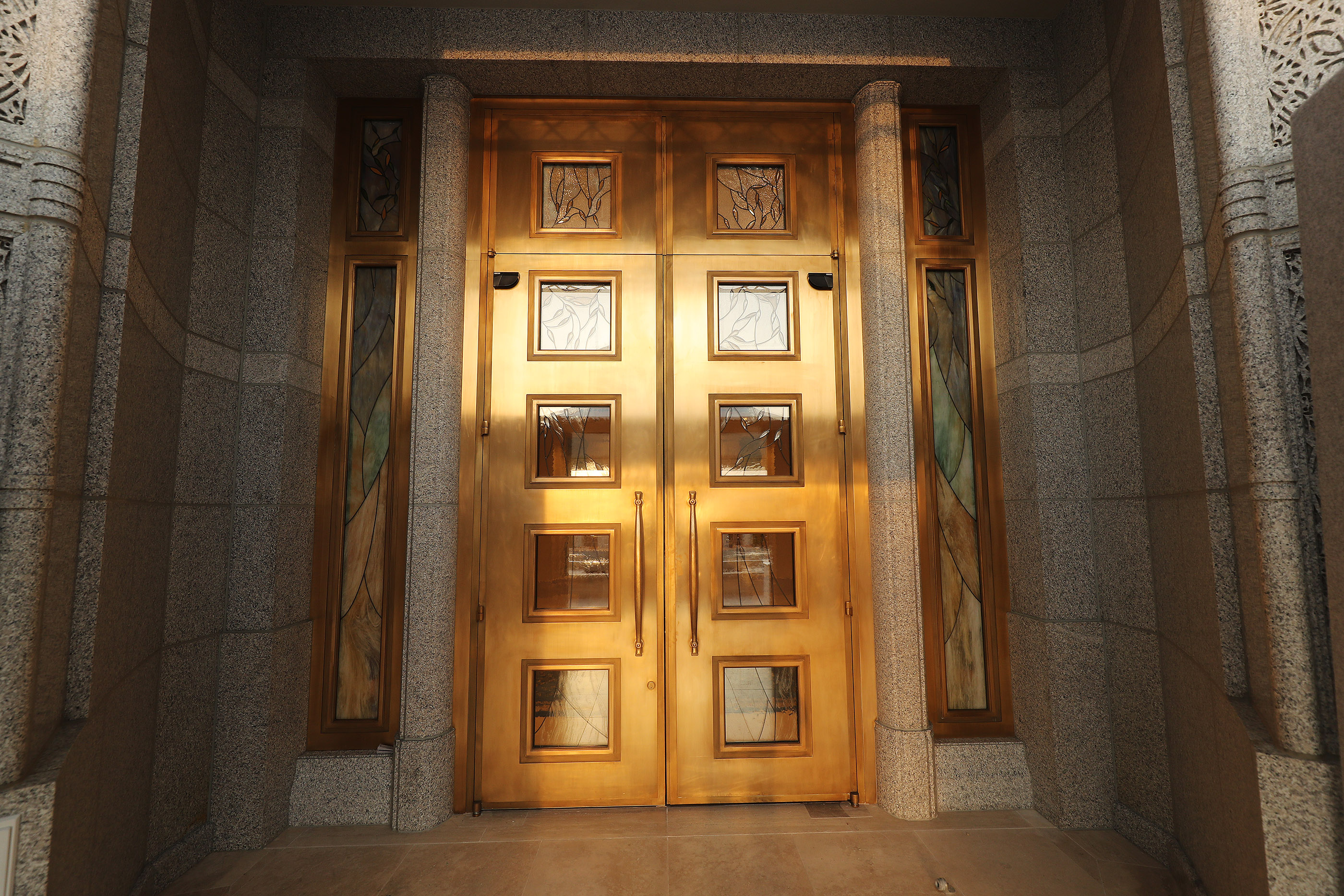 The front doors to the Rome Italy Temple of The Church of Jesus Christ of Latter-day Saints in Rome, Italy, on Friday, March 8, 2019.