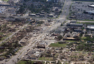 Aerial photo shows the devastation of the Cedar Crest and Forest Lake neighborhoods in Tuscaloosa, Ala., on April 28, a day after a deadly tornado cut through the community. Several Latter-day Saint families in Tuscaloosa lost their homes to the disaster.