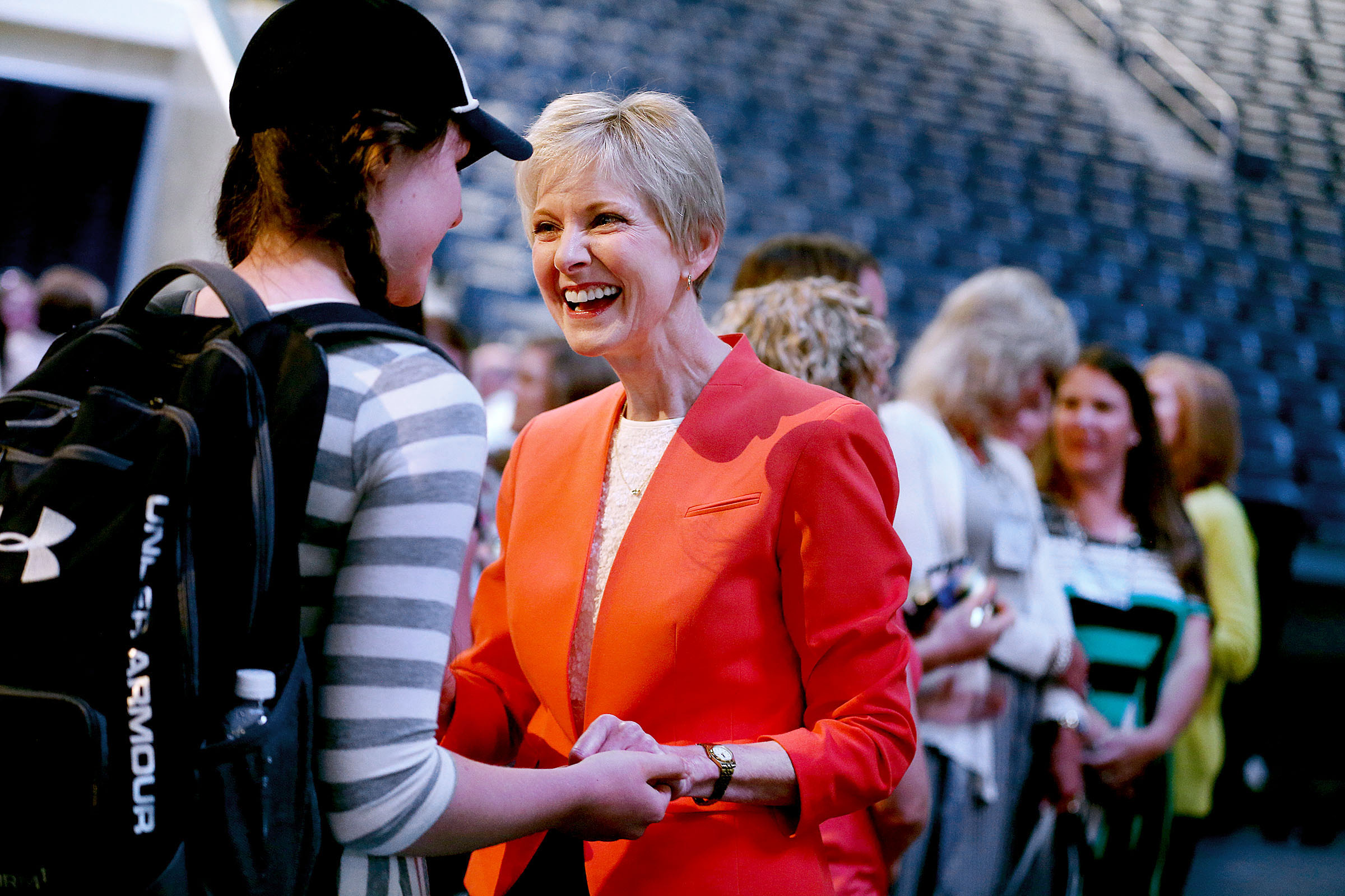 Jean B. Bingham, Relief Society General President, speaks with attendees of the BYU Women's Conference in the Marriott Center at BYU in Provo on Friday, May 5, 2017.