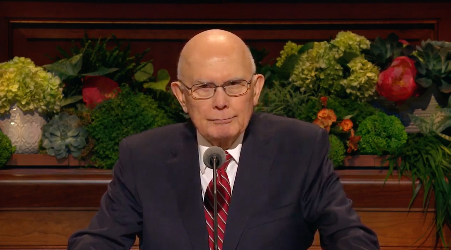 President Dallin H. Oaks, first counselor in the First Presidency, gives his address during the Sunday afternoon session of the 189th Annual General Conference on April 7, 2019.