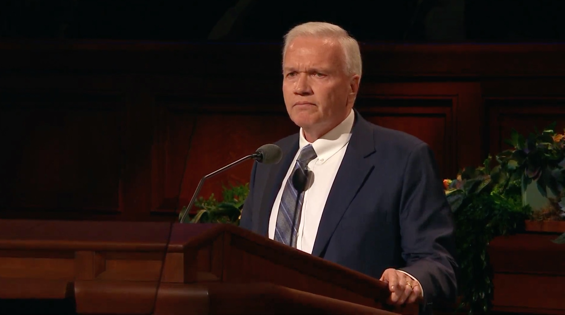 Elder Brook P. Hales gives his address during the Saturday morning session of the 189th Annual General Conference on April 6, 2019.