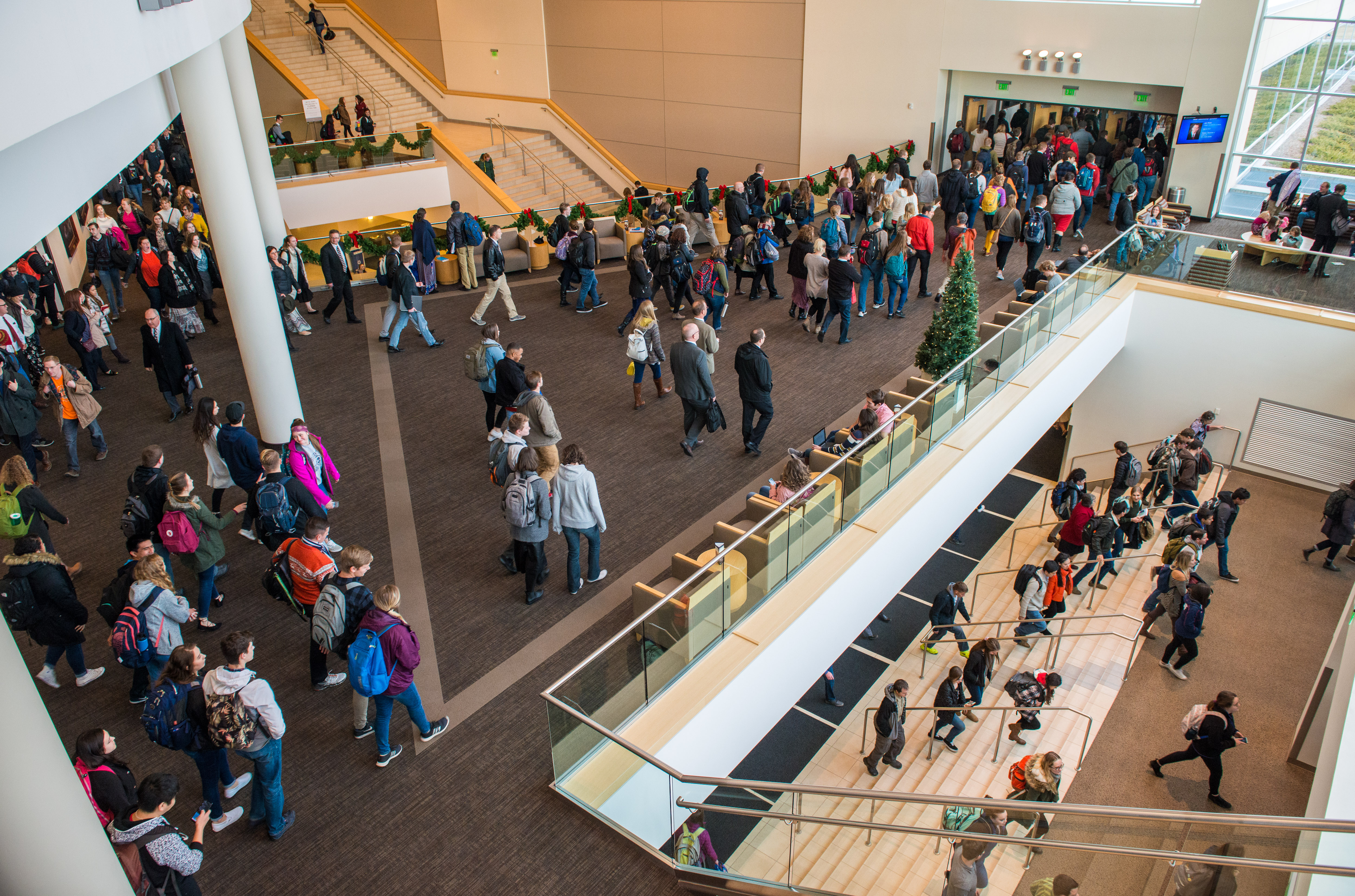 Students leave the BYU-Idaho Center after a devotional where Sister Jean B. Bingham, Relief Society general president, spoke about keeping an eternal perspective.