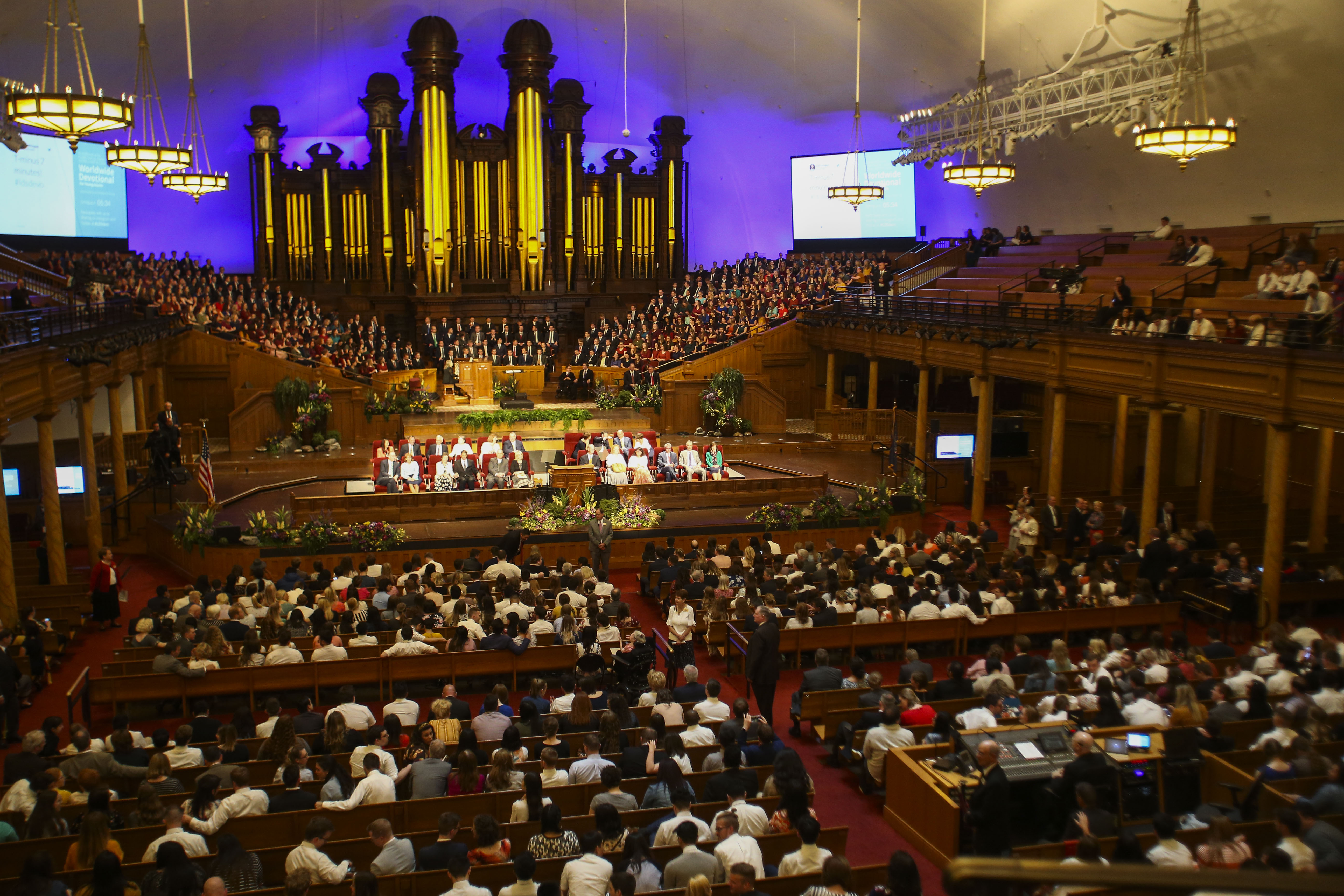 The Salt Lake Tabernacle fills up before Elder Carl B. Cook speaks during the Worldwide Devotional for Young Adults at the Salt Lake Tabernacle in Salt Lake City on Sunday, May 5, 2019.