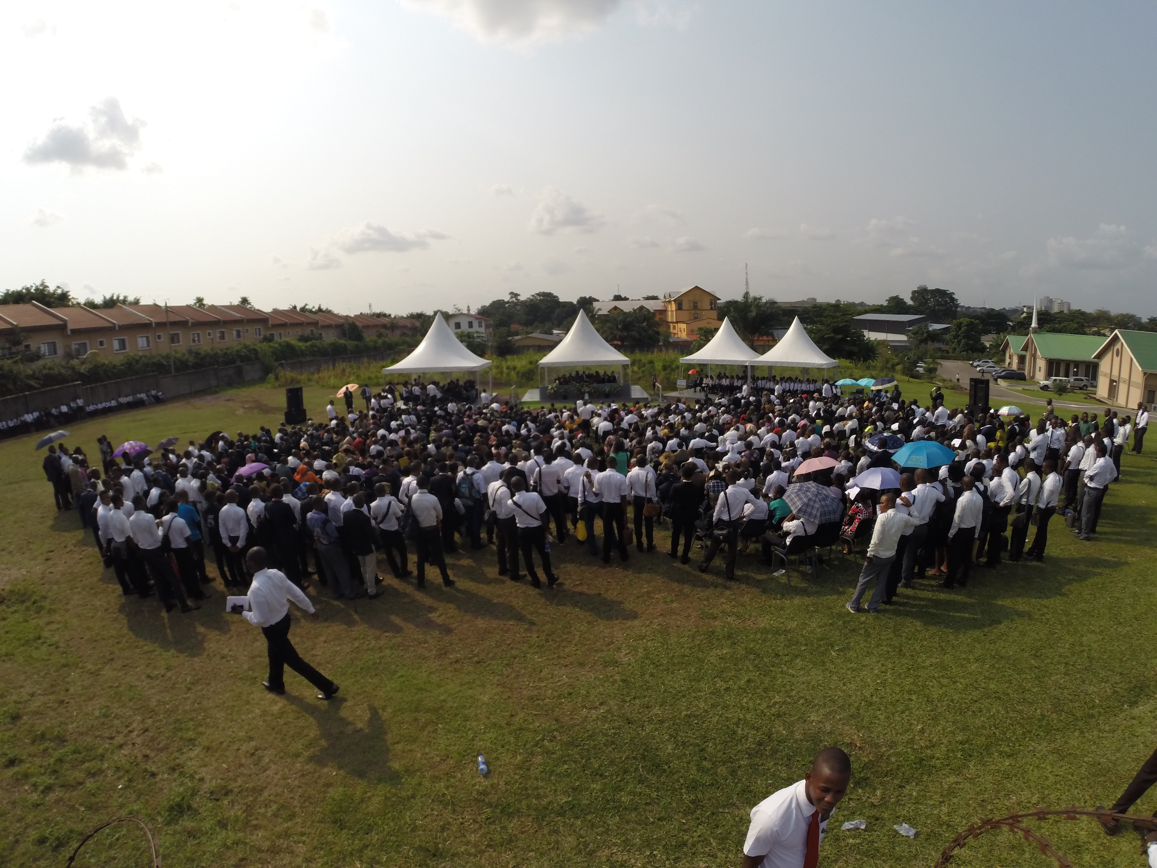 Members of The Church of Jesus Christ of Latter-day Saints gather to participate in the beginning of construction for the Kinshasa Democratic Republic of the Congo Temple on Friday, February 12, 2016.