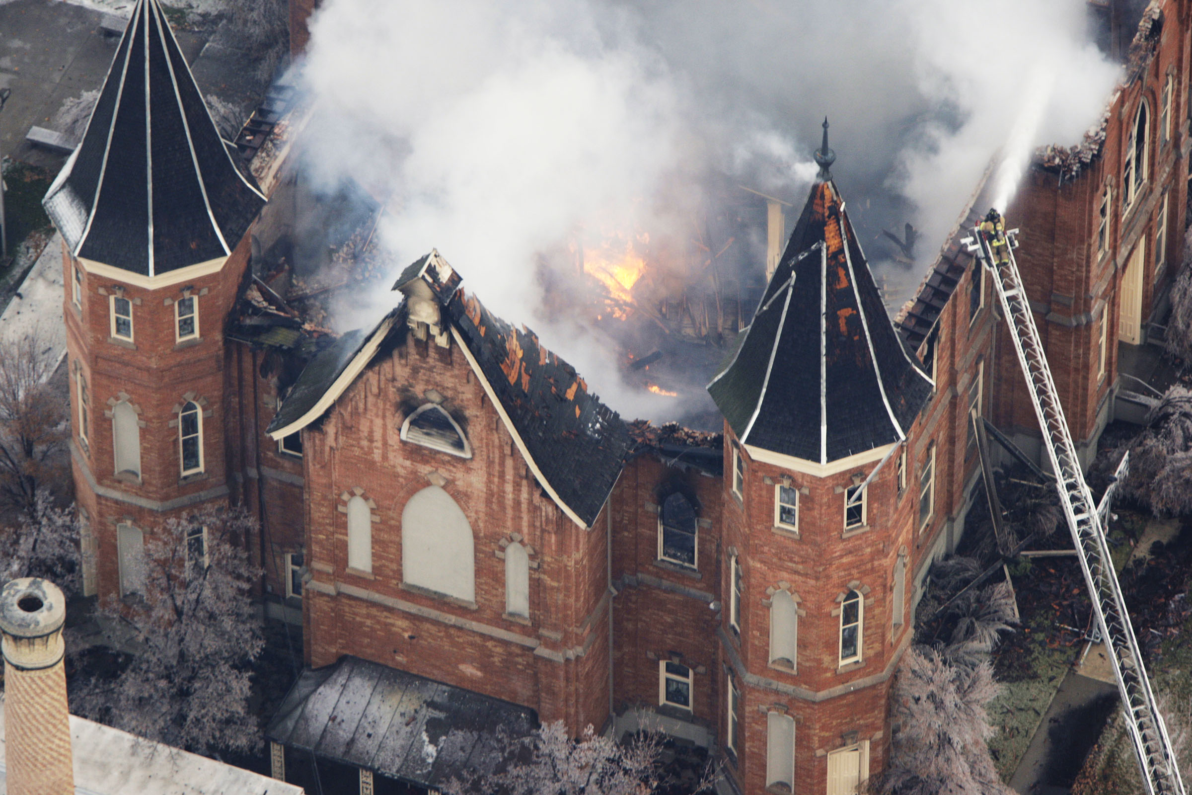 The LDS Provo Tabernacle burns as fire fighters try and knock down the flames and hot spots in Provo, Utah, Dec. 17, 2010.