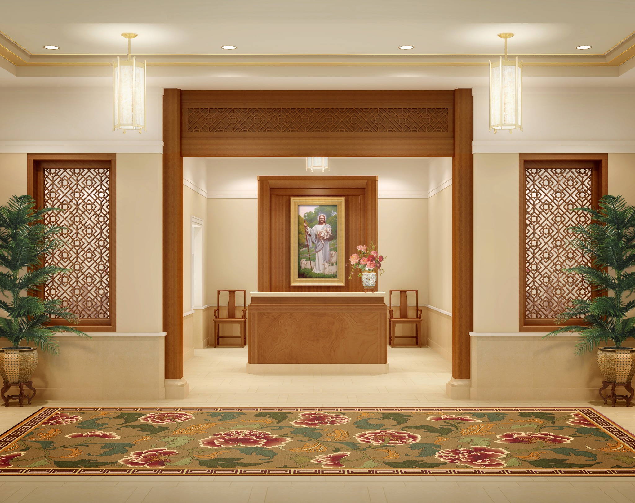 Rendering of the entry into the Hong Kong China Temple.