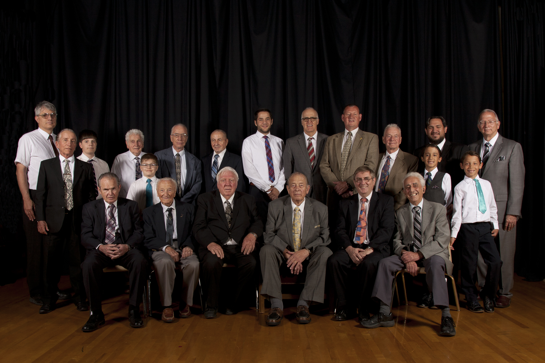 The German Speaking Ward Elders Quorum pose for a photograph taken by former ward member Frank A. Langheinrich, who took a number of organizational photos for distribution on the ward's final day.
