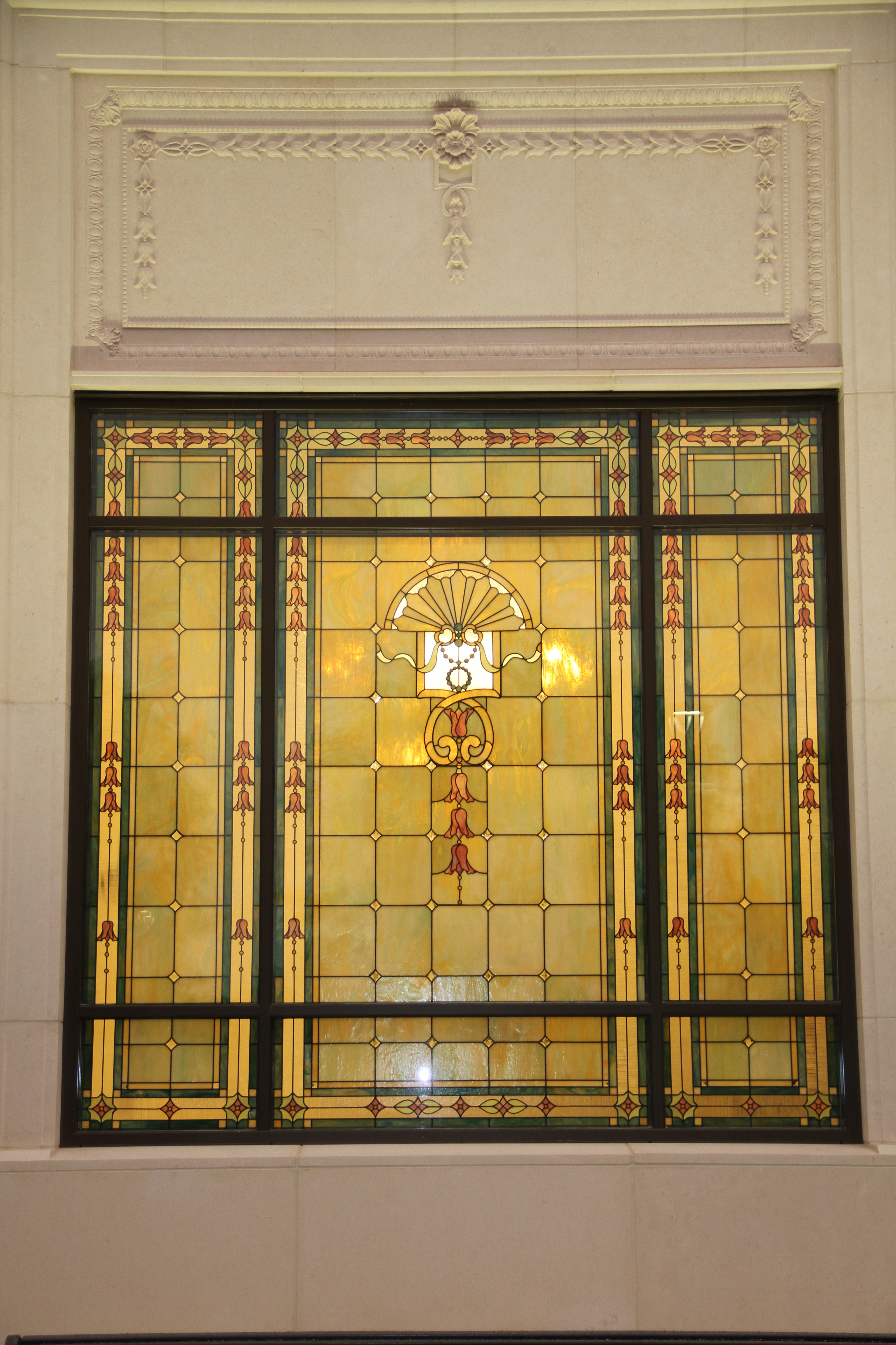 The stained glass window on the south side of the Memphis Tennessee Temple on May 4, 2019.