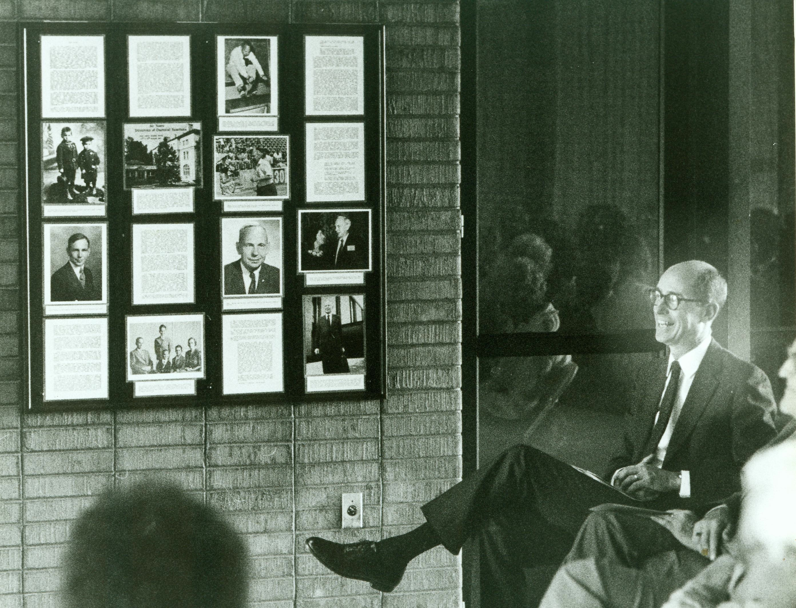 Then-Bishop Henry B. Eyring attends the dedication of an exhibit memorializing his late father, Dr. Henry Eyring, at the University of Utah.