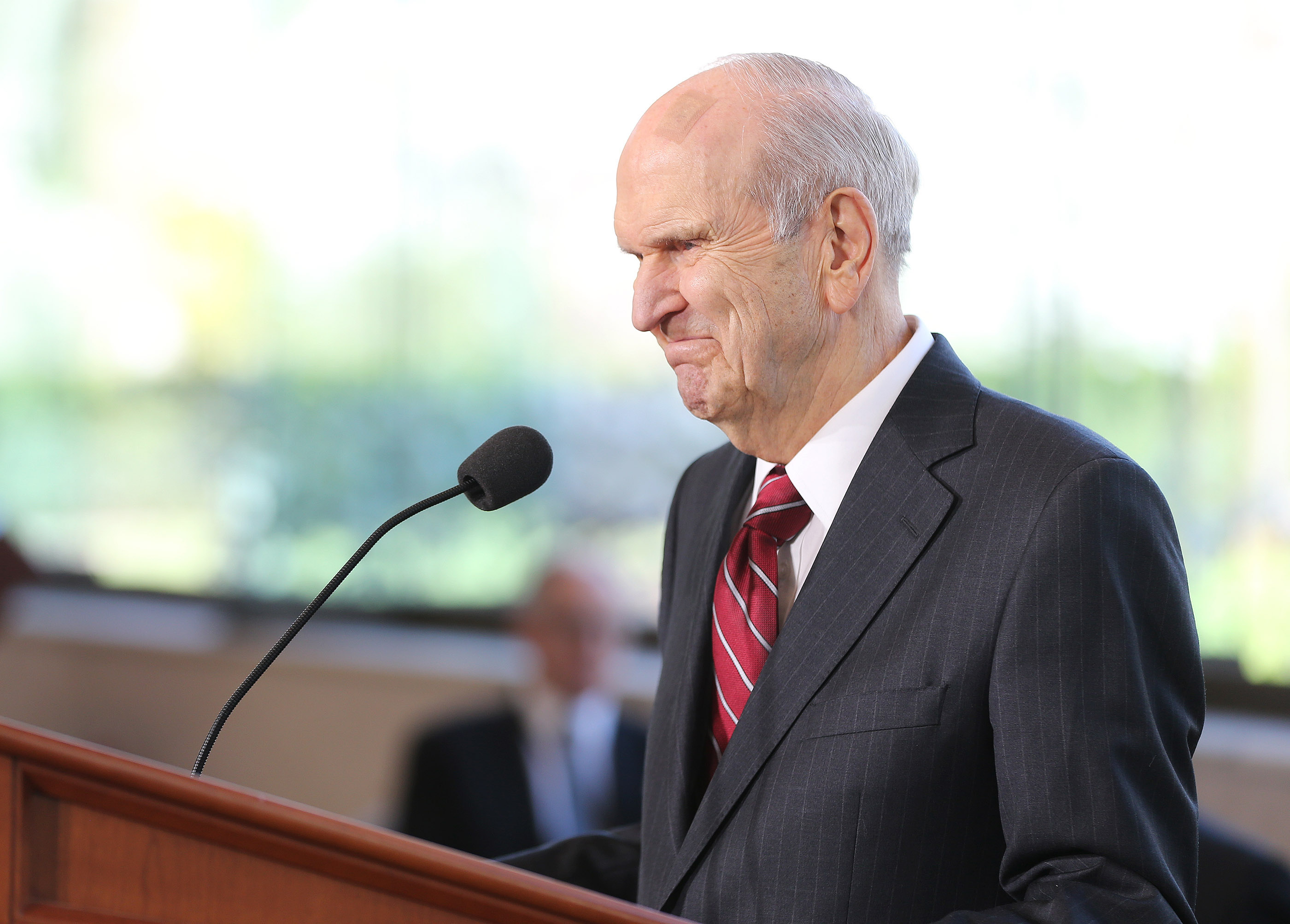 President Russell M. Nelson of The Church of Jesus Christ of Latter-day Saints speaks during a press conference in Salt Lake City on Friday, April 19, 2019 about renovations to the Salt Lake Temple and grounds.