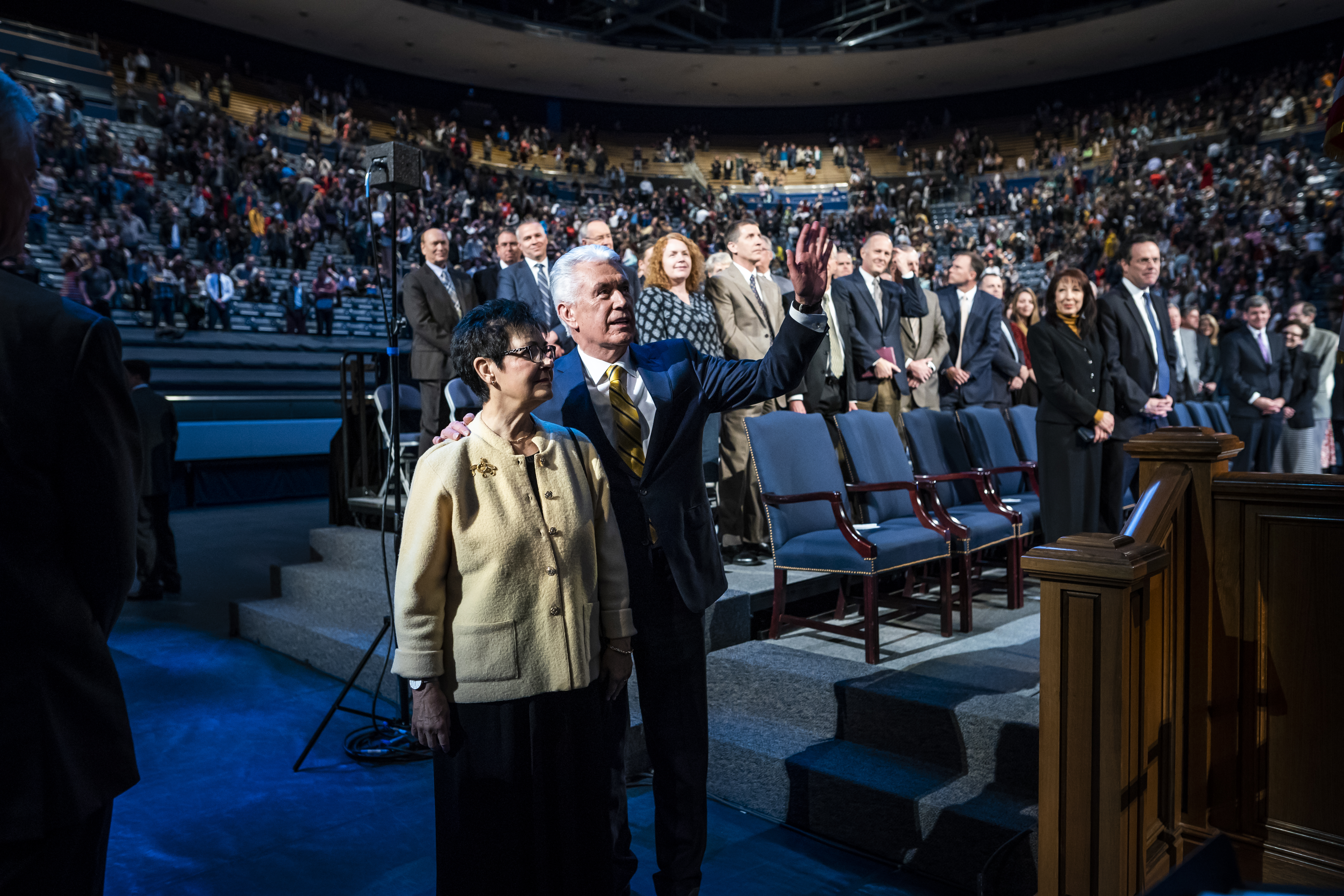 Elder Dieter F. Uchtdorf of the Quorum of the Twelve Apostles with his wife Harriet R. Uchtdorf following a devotional on the BYU campus in Provo, Utah on Tuesday, Jan. 15, 2019.