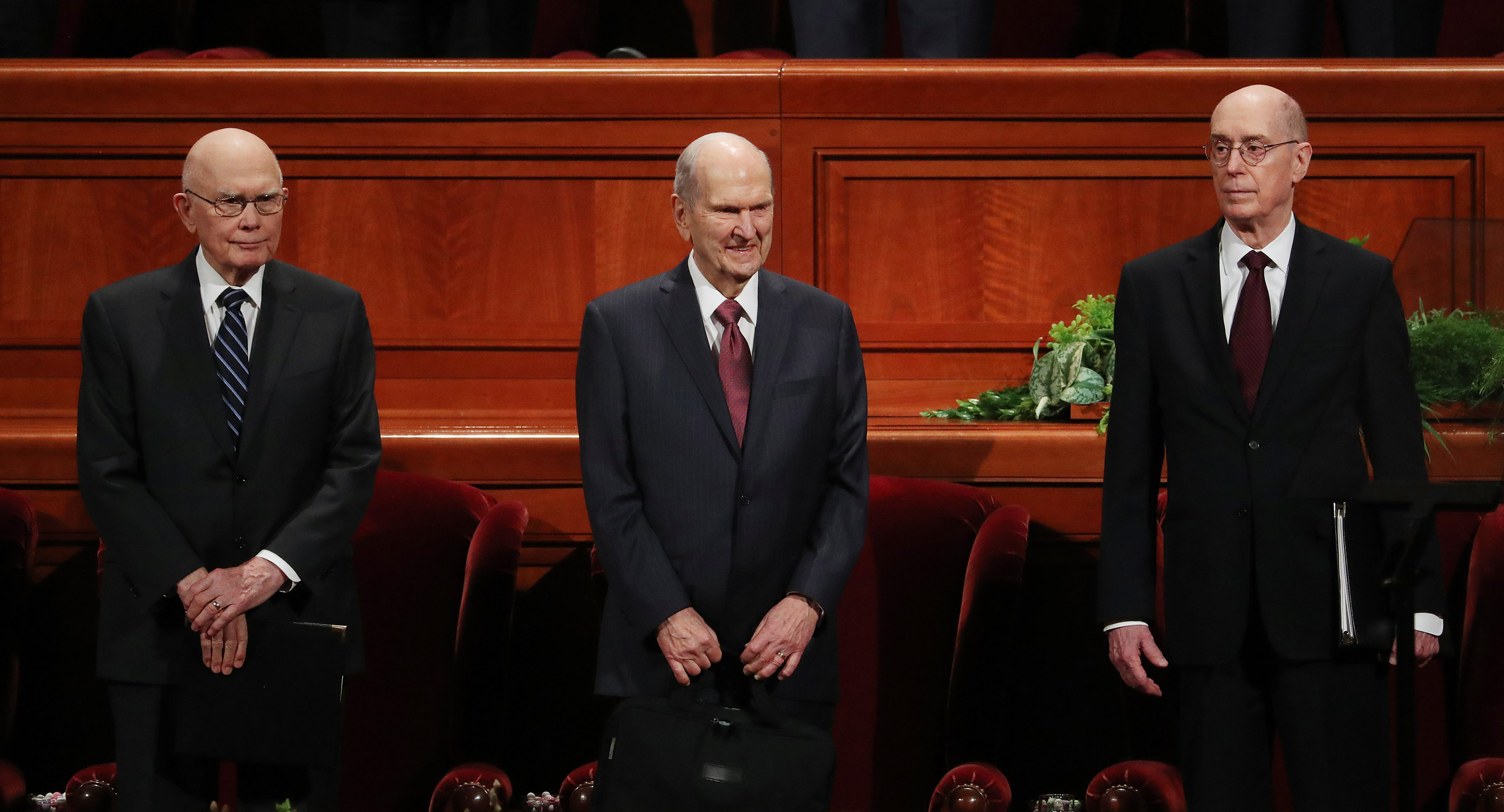 President Russell M. Nelson of The Church of Jesus Christ of Latter-day Saints, center, and his counselors, President Dallin H. Oaks, first counselor in the First Presidency, left, and President Henry B. Eyring, second counselor in the First Presidency, right, enter the Conference Center prior to the 189th Annual General Conference of The Church of Jesus Christ of Latter-day Saints in Salt Lake City on Saturday, April 6, 2019.
