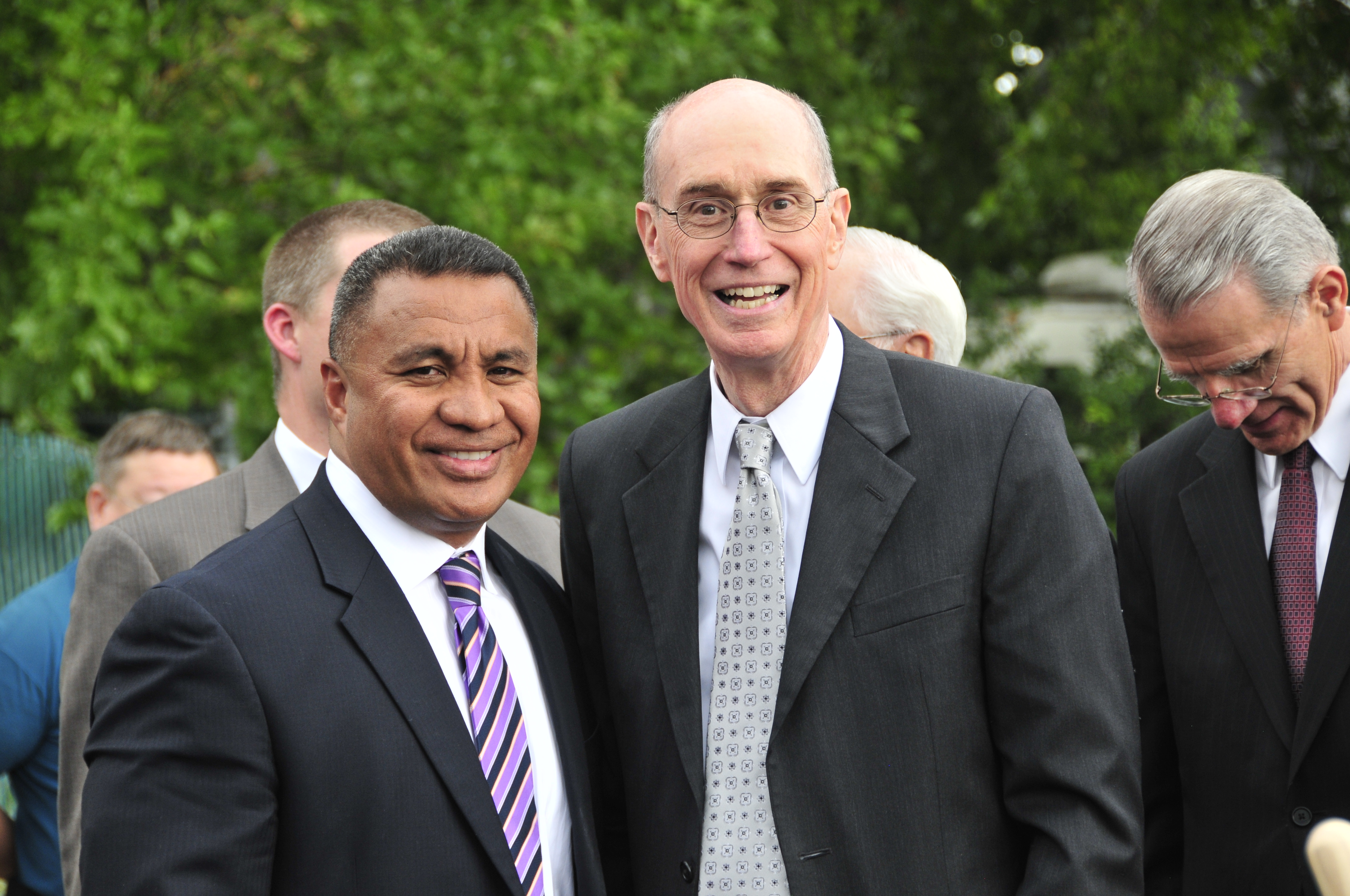 Vai Sikahema, left, poses with President Henry B. Eyring on Sept 17, 2011, at the groundbreaking of the Camden New Jersey Ward meetinghouse.