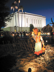 Figure from a lifesize nativity scene adds to the holiday atmosphere found each year at the Mesa Arizona Temple.