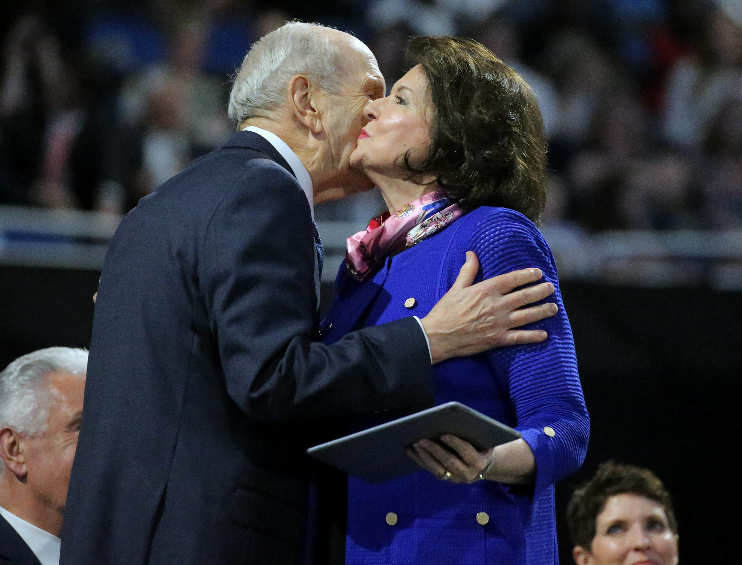 President Russell M. Nelson s kisses his wife, Sister Wendy Nelson, on the cheek after her devotional message at the Amway Center in Orlando, Florida, on Sunday, June 9, 2019.
