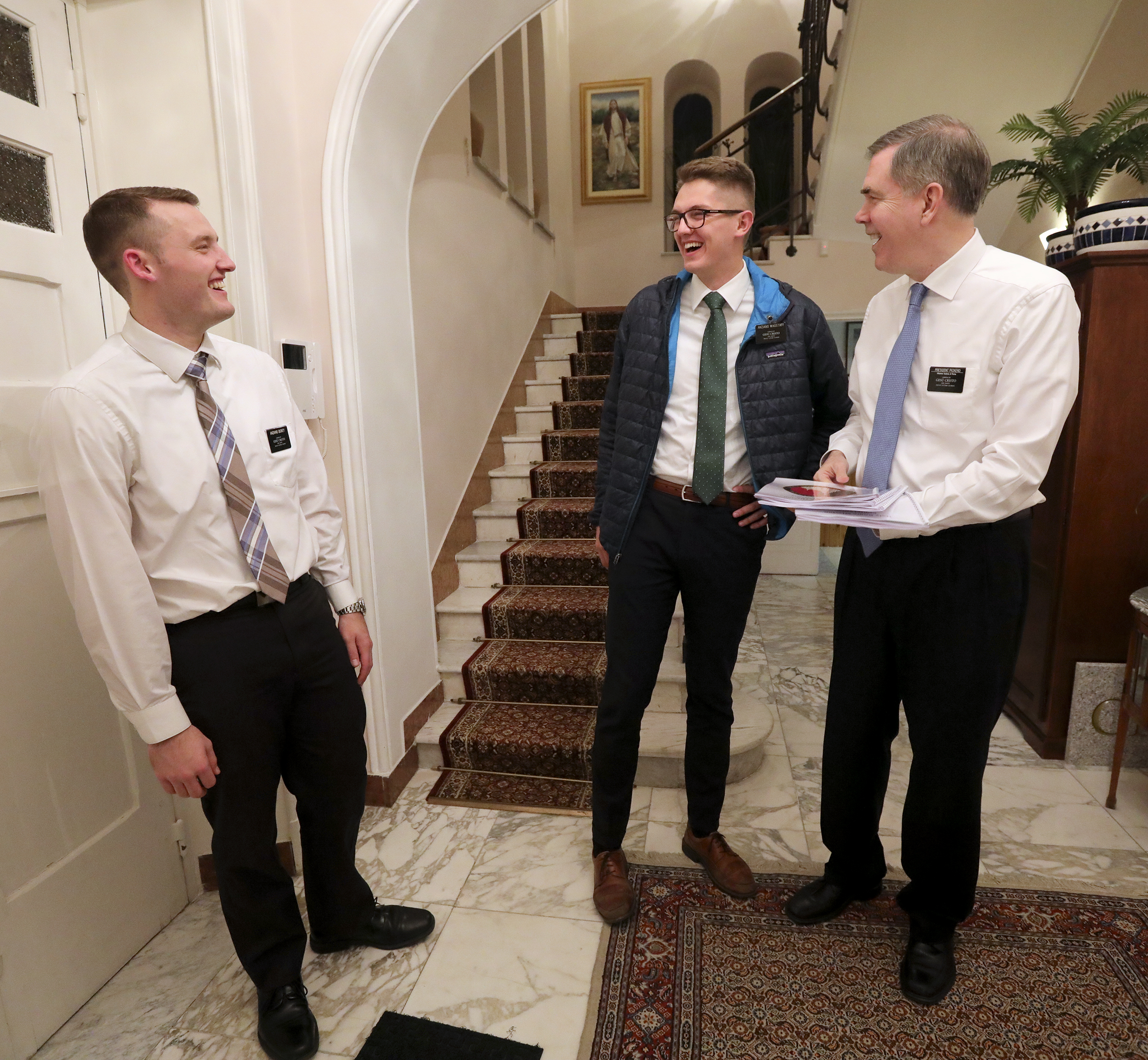 Elder Bryce Dickey and Elder Travis Wagstaff drop off a final copy of a mission conference itinerary and roster of missionaries to President Michael D. Pickerd, of the Italy Rome Mission, at the mission home in Rome, Italy, on Friday, Nov. 16, 2018.