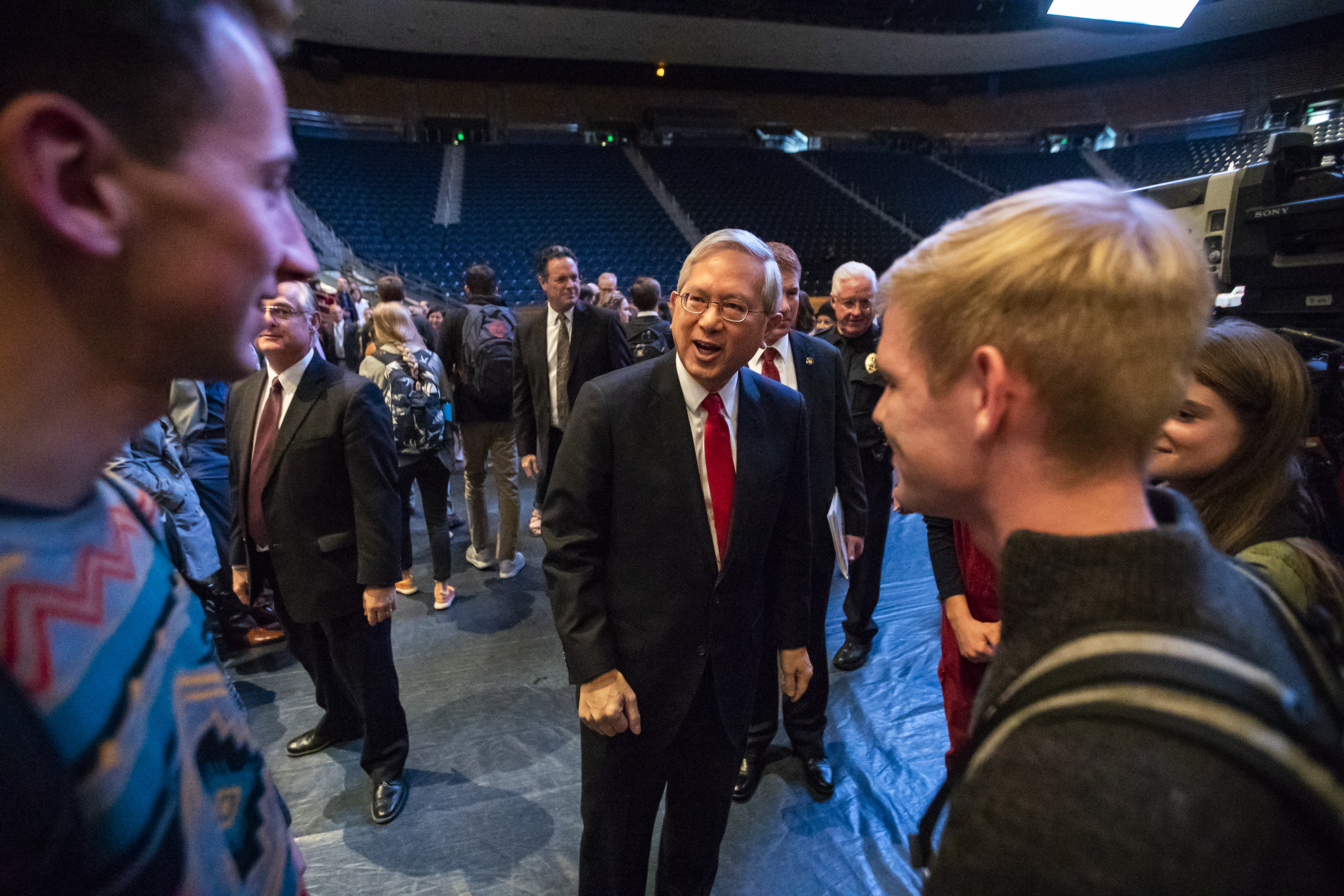 Elder Gerrit W. Gong of the Quorum of the Twelve Apostles shakes hands and talks with students and others who attended the BYU campus devotional on Tuesday, Oct. 16, 2018.