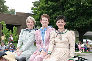 Primary Gen. Pres. Cheryl C. Lant and counselors, Margaret S. Lifferth, left, and Vicki F. Matsumori join parade.