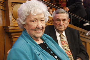 "Wanda West Palmer sits with husband, Melvin, in the Salt Lake Tabernacle just before beginning of special recital on the occasion of a 50-year observance since the composition of her popular anthem ""Oh That I Were an Angel."""
