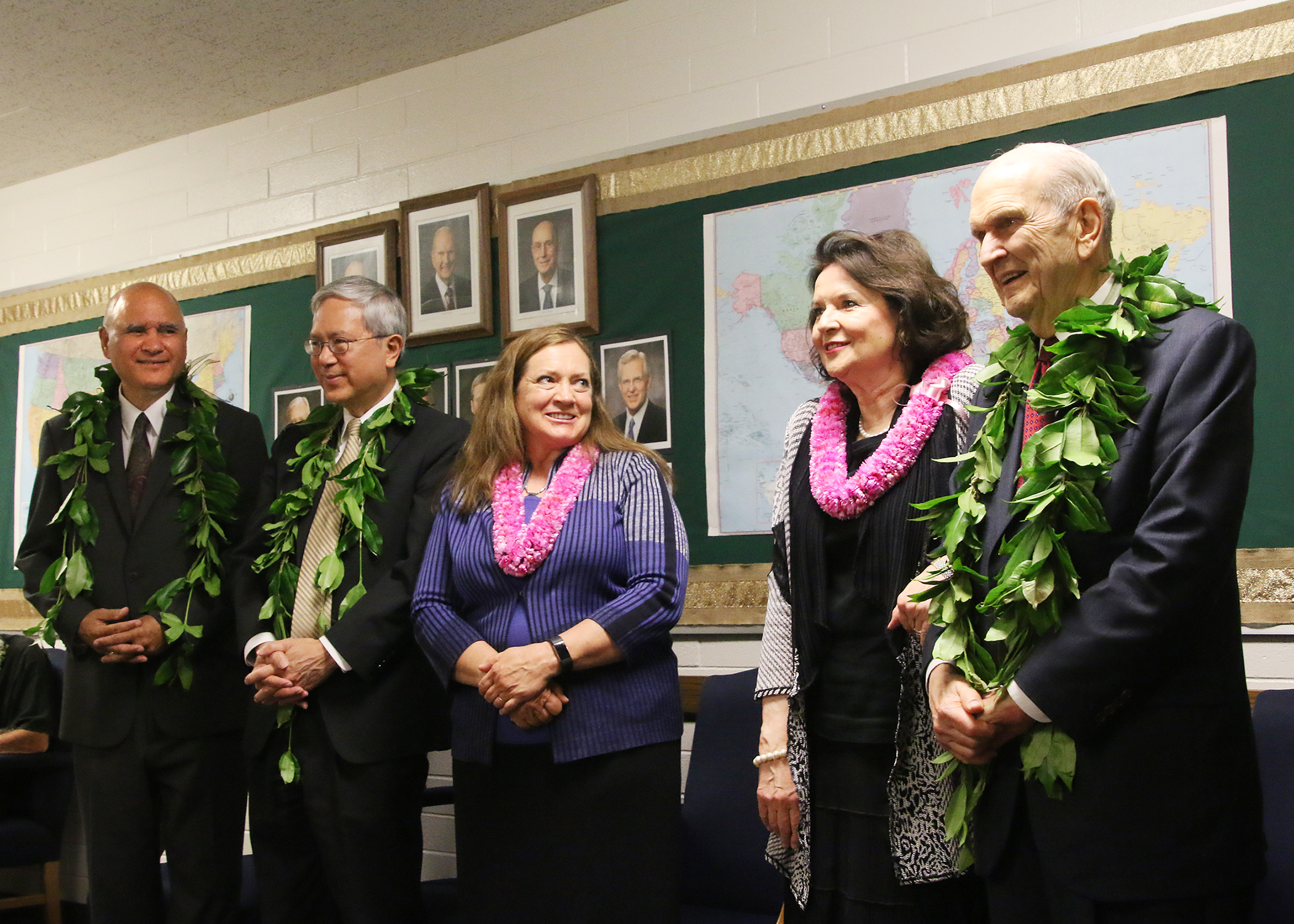 From right to left, President Russell M. Nelson, Sister Wendy Nelson, Sister Susan Gong and Elder Gerrit W. Gong of the Twelve Apostles greet community leaders during a reception prior to the May 16, 2019, devotional in the Kona Hawaii Stake center. Af left is Elder Aley K. Auna Jr., an Area Seventy.