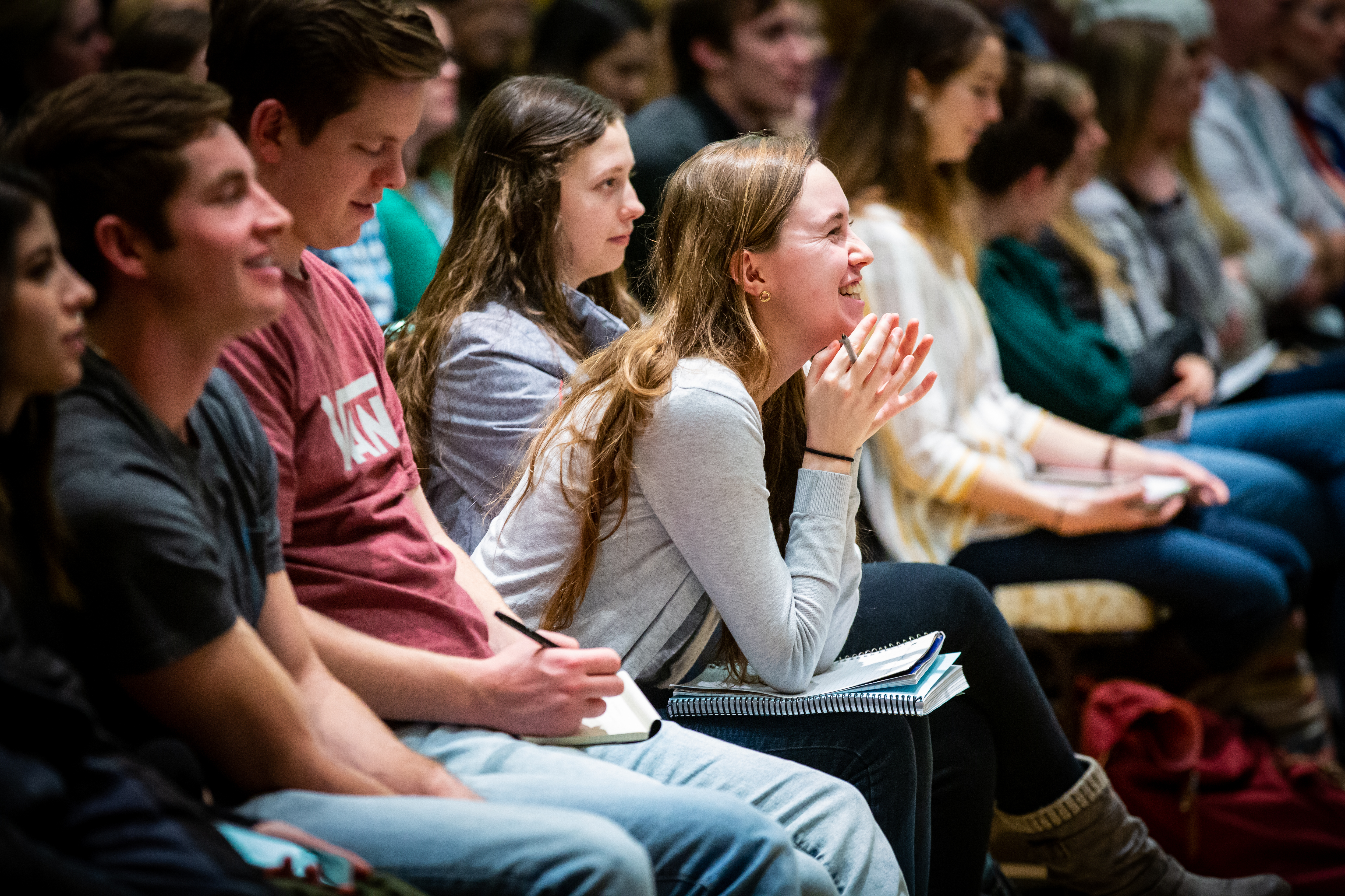 Students attending the 15th Annual Marjorie Pay Hinckley Lecture on Feb. 7, 2019 listen to guest speaker Dr. Scott Stanley in the Hinckley building on the BYU Provo, Utah campus.
