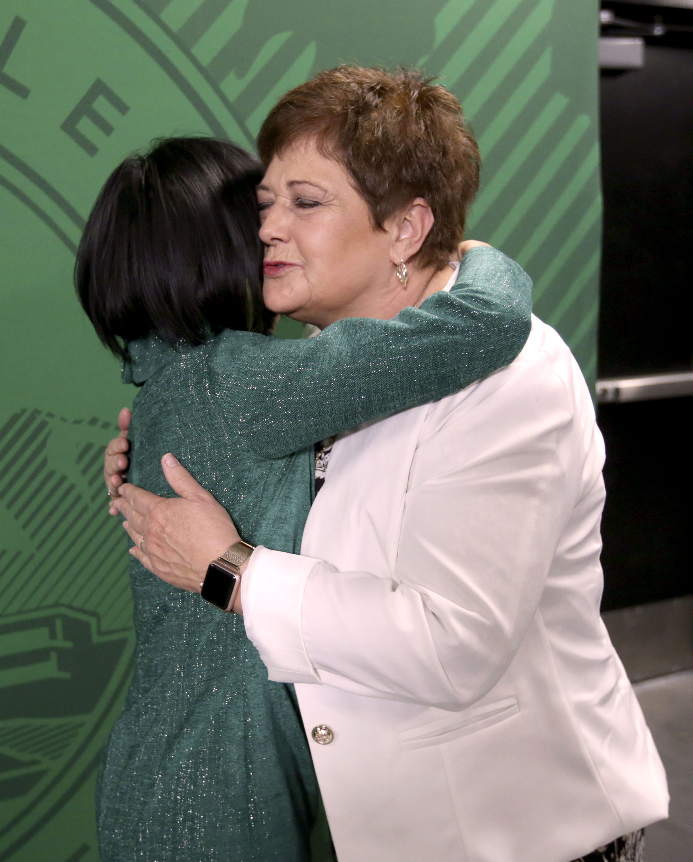 Astrid S. Tuminez, Utah Valley University's seventh president, hugs Utah First Lady Jeanette Herbert after Tuminez's inauguration ceremony at the UVU Noorda Center for the Performing Arts in Orem on Wednesday, March 27, 2019.