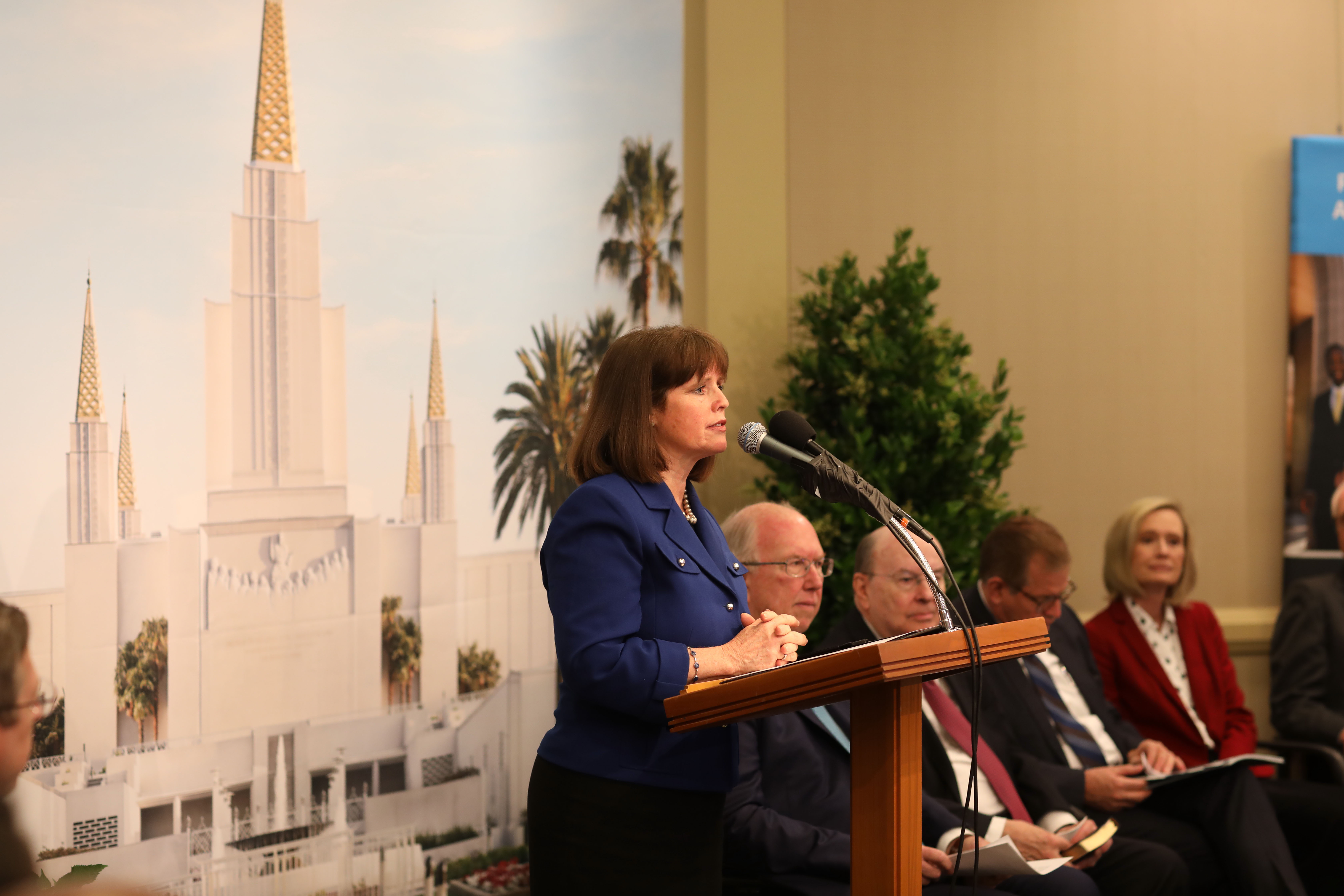 Candace Andersen, supervisor for Contra Costa County District 2, addresses the news media during a briefing on the renovation of the Oakland Temple May 6, 2019.
