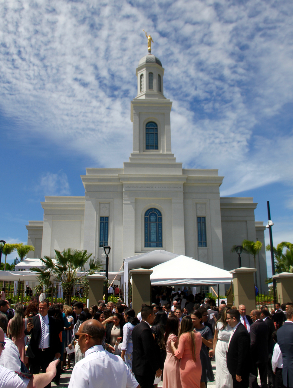 Latter-day Saints congregate outside the Brazil Fortaleza Temple as some exit one session and others line up for the next session on Sunday, June 2, 2019.