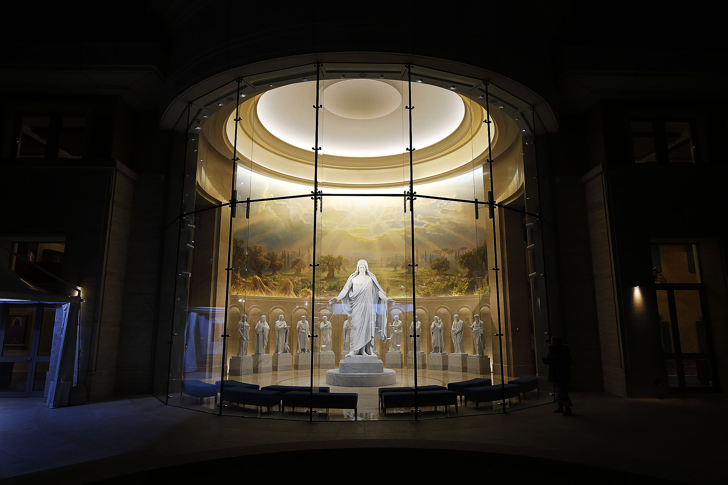 Statues of Christ and the Apostles are displayed in the Rome Temple Visitor's Center of The Church of Jesus Christ of Latter-day Saints in Rome, Italy on Sunday, Jan. 13, 2019.