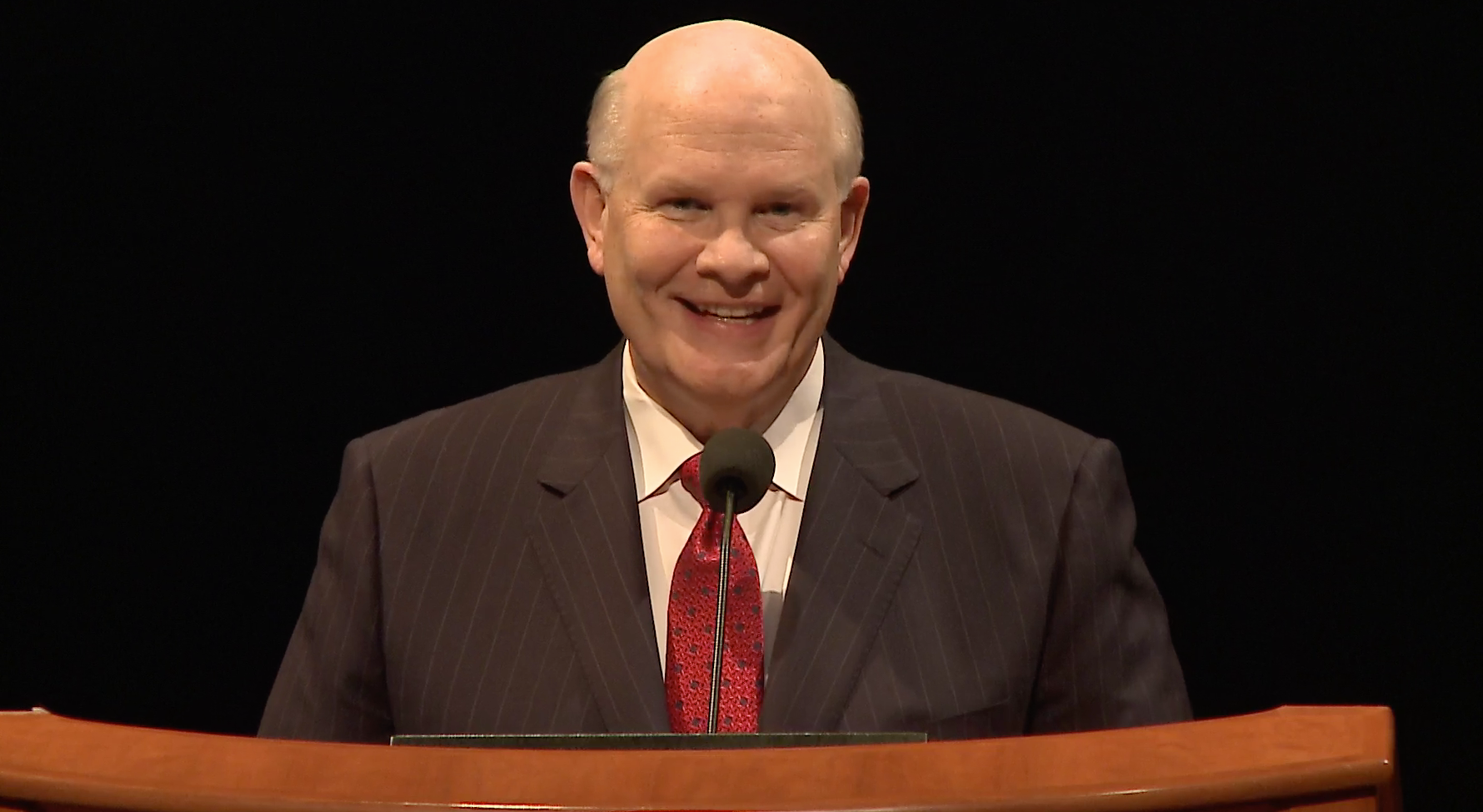 Elder Dale G. Renlund of the Quorum of the Twelve Apostles speaks during an instruction meeting to ward and stake leaders and members with temple and family history work callings and responsibilities. The image is from a screenshot from the Feb. 28 broadcast.