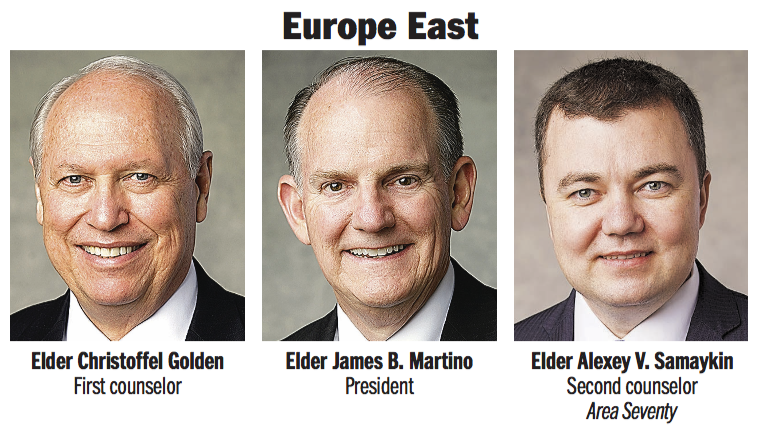 Europe East Area presidency: Elder James B. Martino, Elder Christoffel Golden and Elder Alexey V. Samaykin, an Area Seventy.