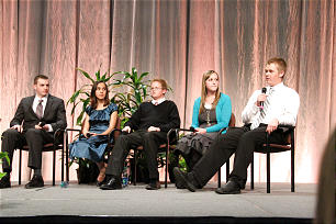 Nathan Smith, far right, discusses his experience helping youth in his stake find and take ancestor's names to the temple for baptisms for the dead. Other panelists are, from left, Jordan Hintze, Flannery Cash, Sam Mathias, and Mikayla Faddis.