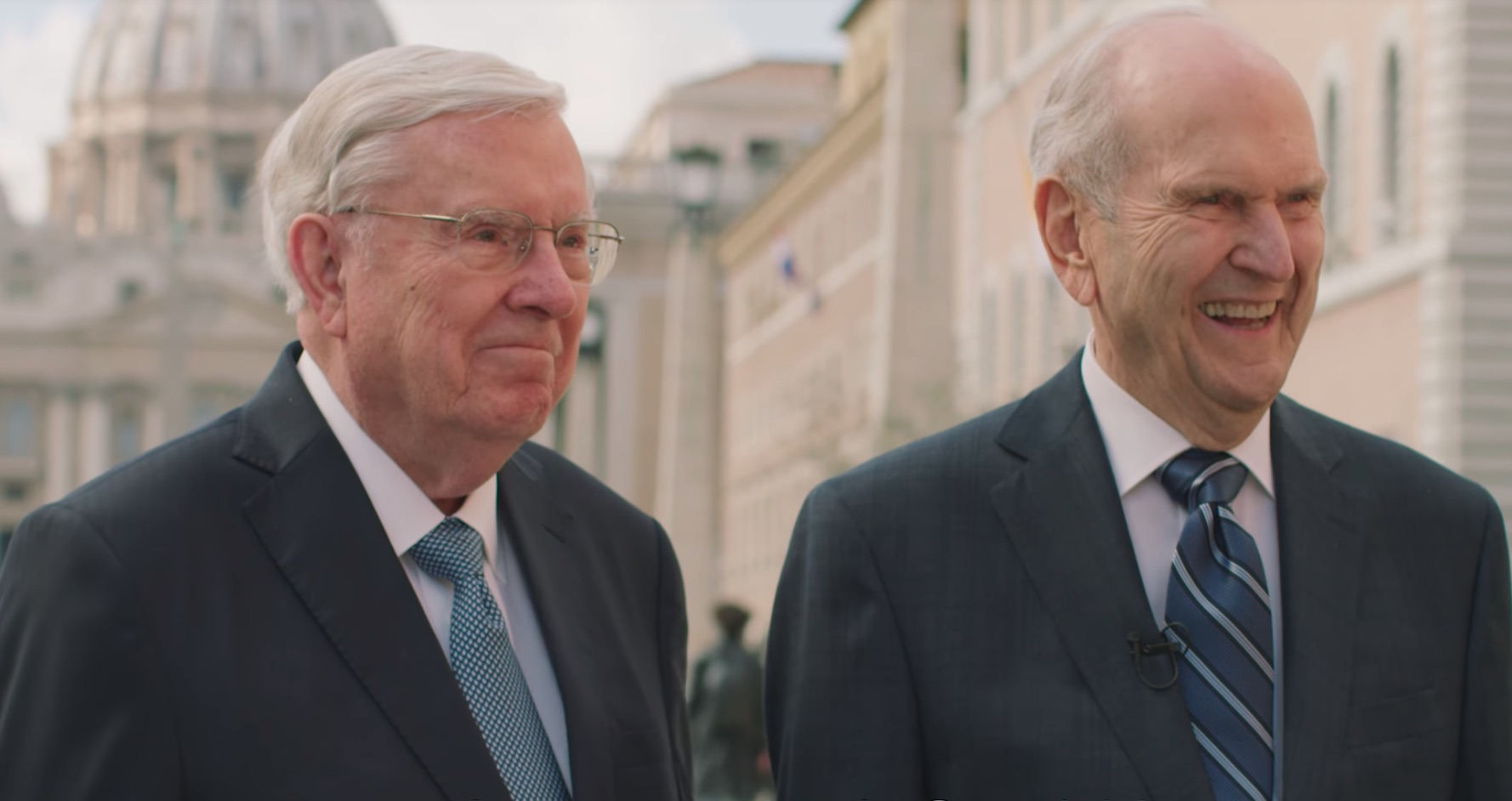 President M. Russell Ballard, left, and President Russell M. Nelson, right, talk in a Church News video about meeting with Pope Francis.