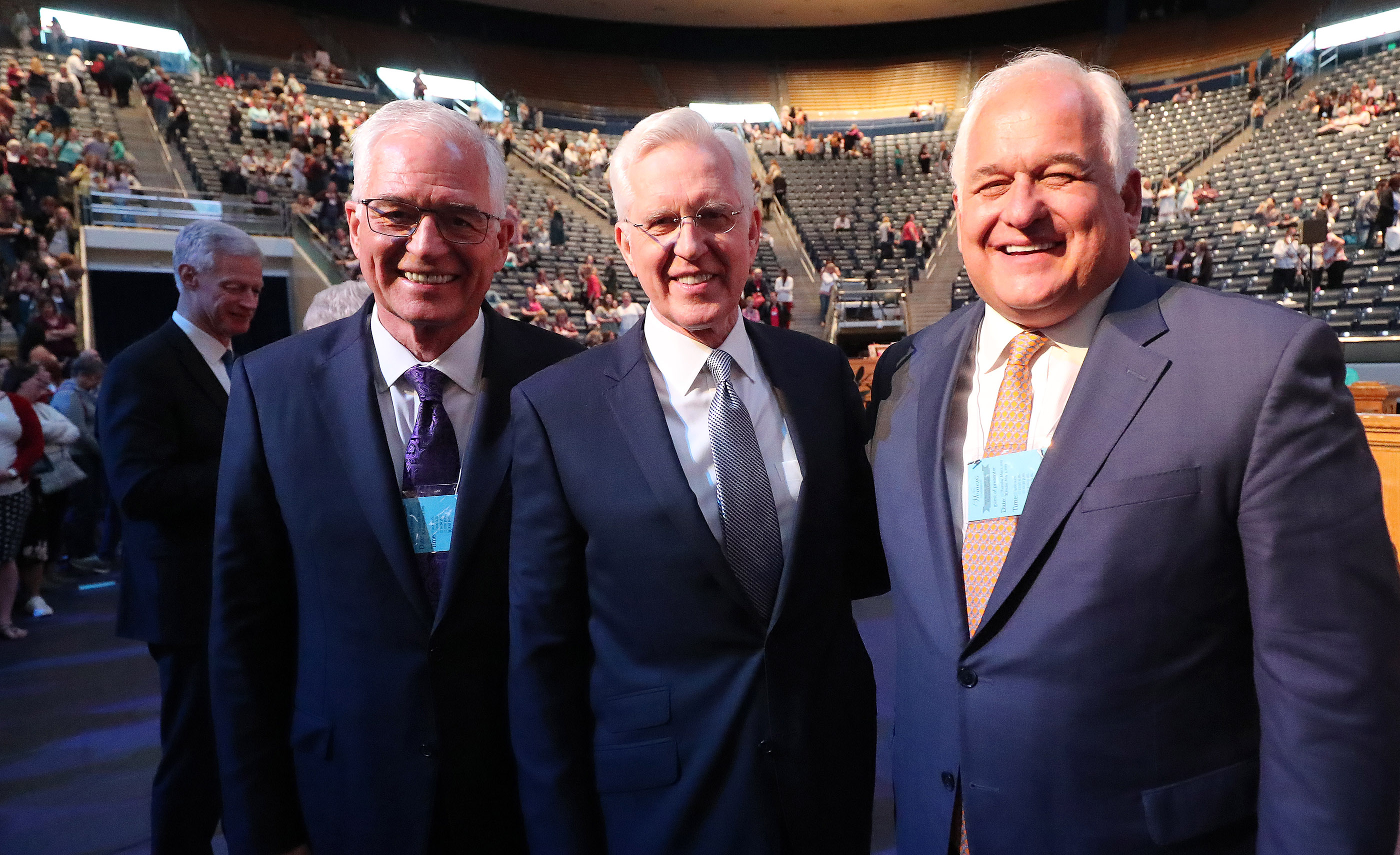 Elder D. Todd Christofferson of the Quorum of the Twelve Apostles for The Church of Jesus Christ of Latter-day Saints, center, poses with his brothers Greg and Tom during BYU Women's Conference in Provo on Friday, May 3, 2019.