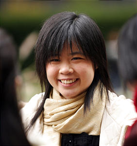 Jessica Ling, Hong Kong, laughs with friends on Temple Square during LDS General Conference Oct 6, 2007 in Salt Lake City. Jeffrey D. Allred/photo