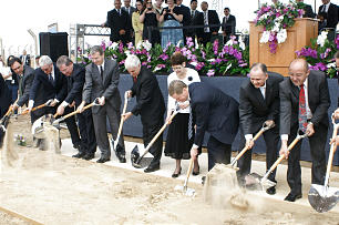 Elder David A. Bednar of the Twelve, third from right, and his wife, Sister Susan Bednar, join Elder Claudio R.M. Costa, fifth from left, and other leaders for the groundbreaking of the Fortaleza Brazil Temple.