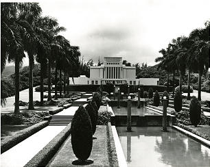 This 1950 photo shows beauty of the temple's grounds, which are landscaped with trees, shrubs, flowers and water features.