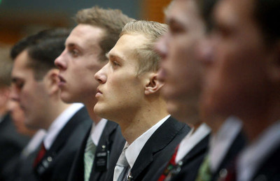 Missionaries attend a Christmas morning devotional at the Missionary Training Center in Provo on Tuesday, Dec. 25, 2012.