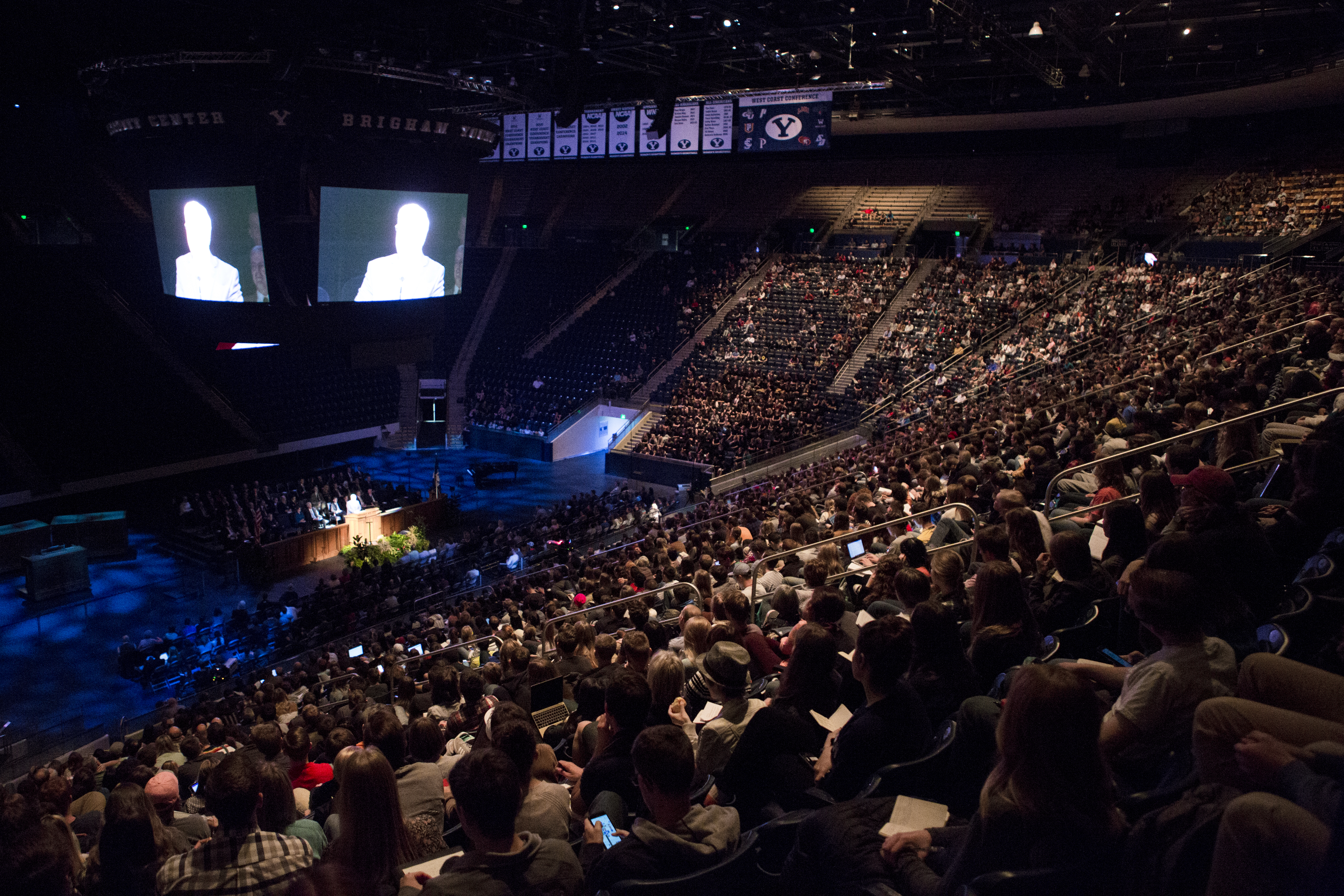Students in the Marriott Center listen to Elder José A. Teixeira, a member of the Presidency of the Seventy, during the Tuesday, Nov. 6, 2018, devotional.