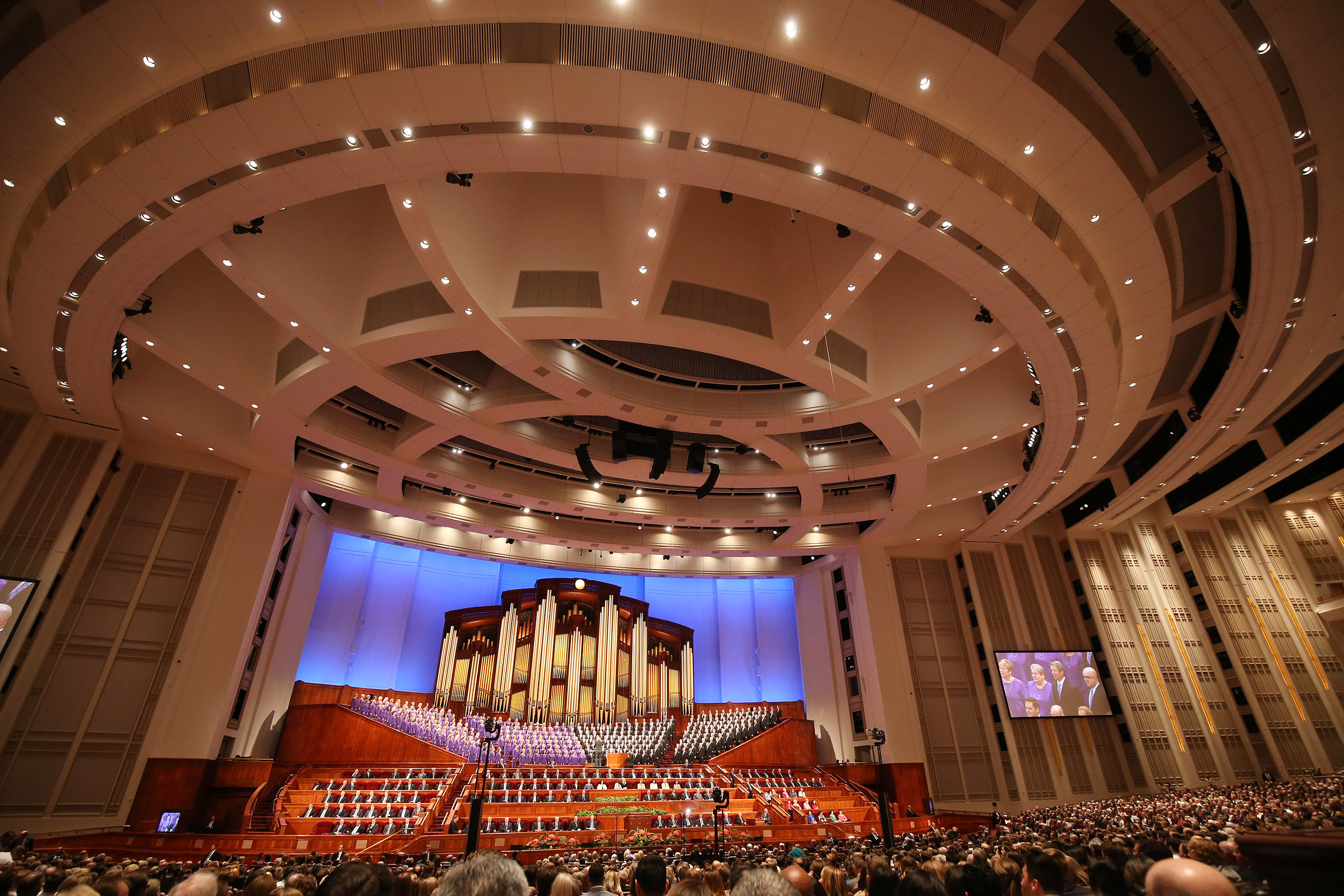 The Tabernacle Choir at Temple Square sings during the Saturday morning session of the 188th Semiannual General Conference of The Church of Jesus Christ of Latter-day Saints in the Conference Center in Salt Lake City on Saturday, Oct. 6, 2018.