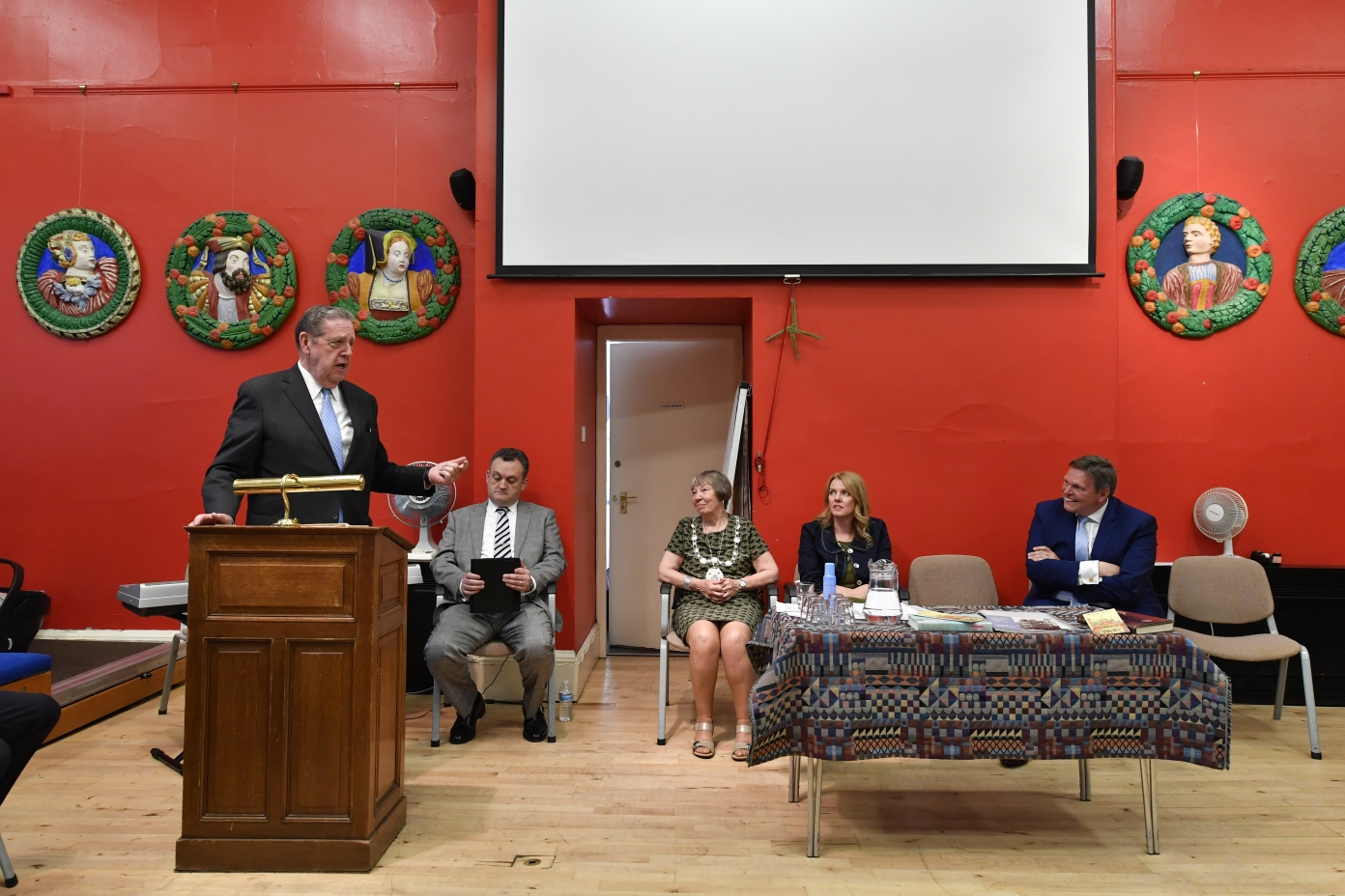 Elder Holland addresses guests at the Stirling Smith Art Gallery and Museum in Stirling, Scotland, on July 5, 2018.