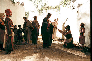 "This scene from the ""Finding Faith in Christ"" video depicts the Savior healing a blind man."