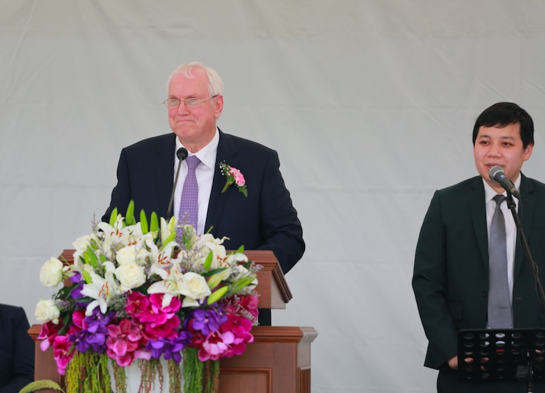 Elder Robert C. Gay of the Presidency of the Seventy speaks at the groundbreaking for the Bangkok Thailand Temple on Saturday, Jan. 26, 2019.