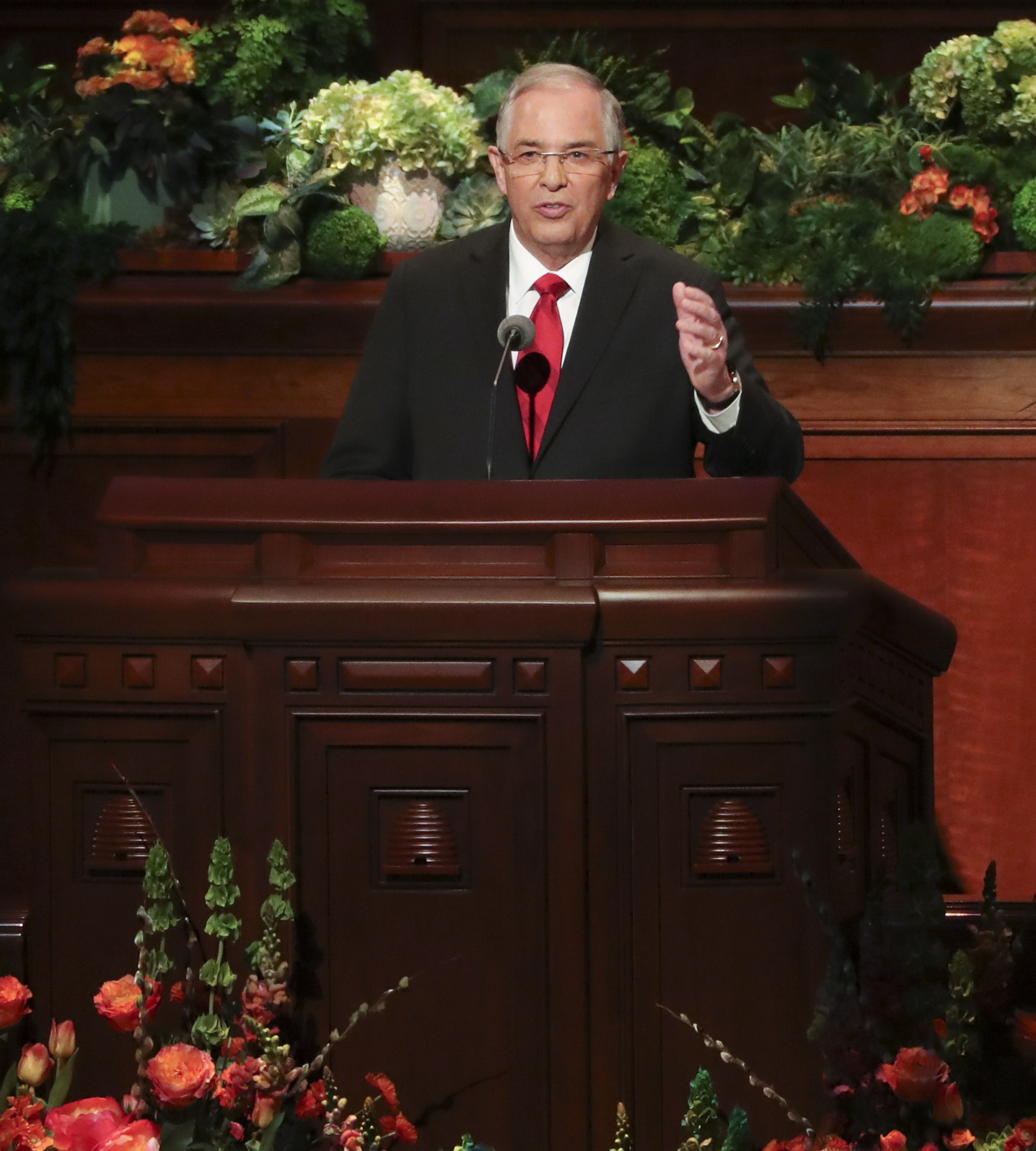 Elder Neil L. Andersen of the Quorum of the Twelve Apostles, speaks during the afternoon session of the 189th Annual General Conference of The Church of Jesus Christ of Latter-day Saints at the Conference Center in Salt Lake City on Saturday, April 6, 2019.