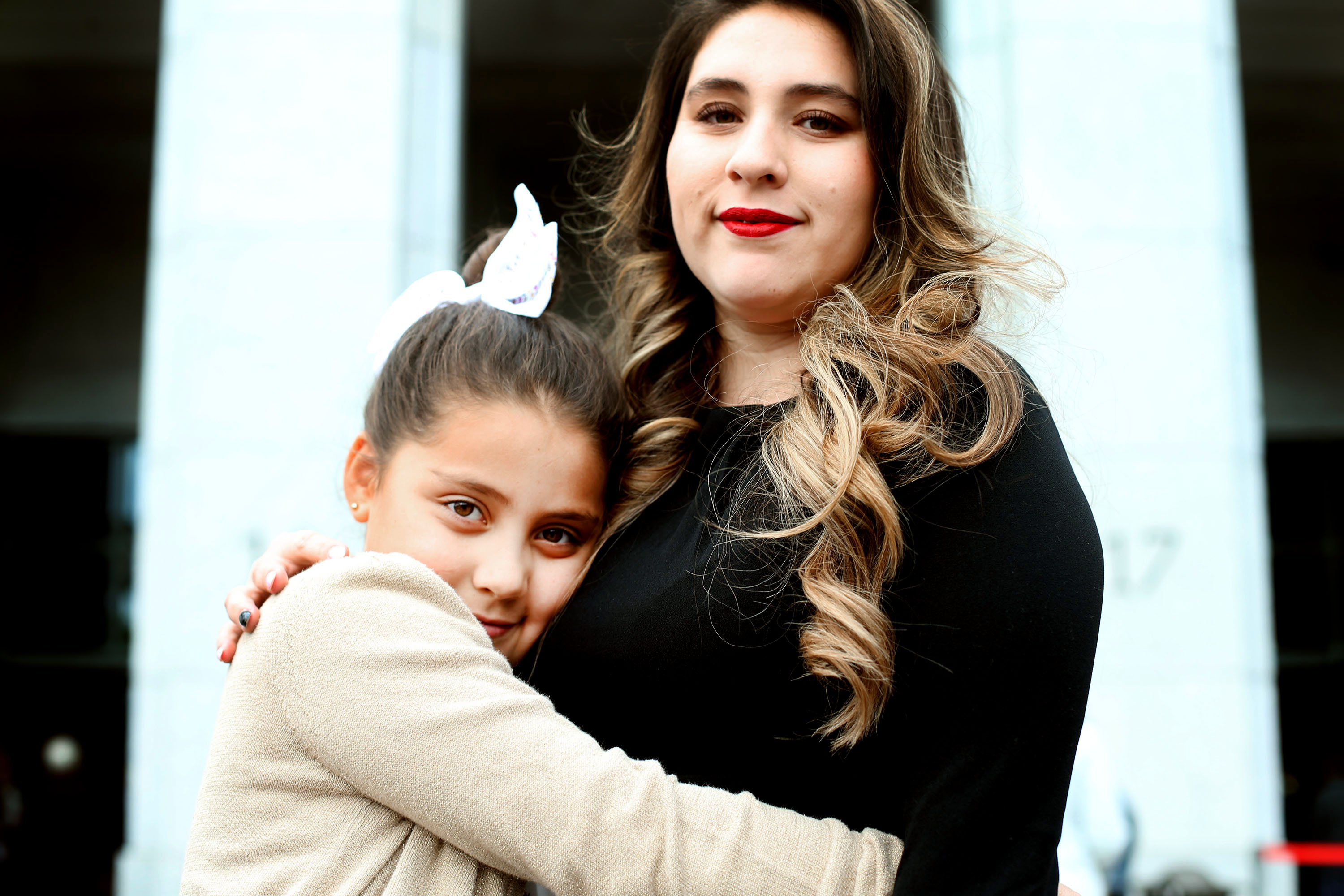 Catalina Dufour of Chile hugs her mother, Valentina, before the general women's session of the 188th Semiannual General Conference of The Church of Jesus Christ of Latter-day Saints held in the Conference Center in downtown Salt Lake City on Saturday, Oct. 6, 2018.