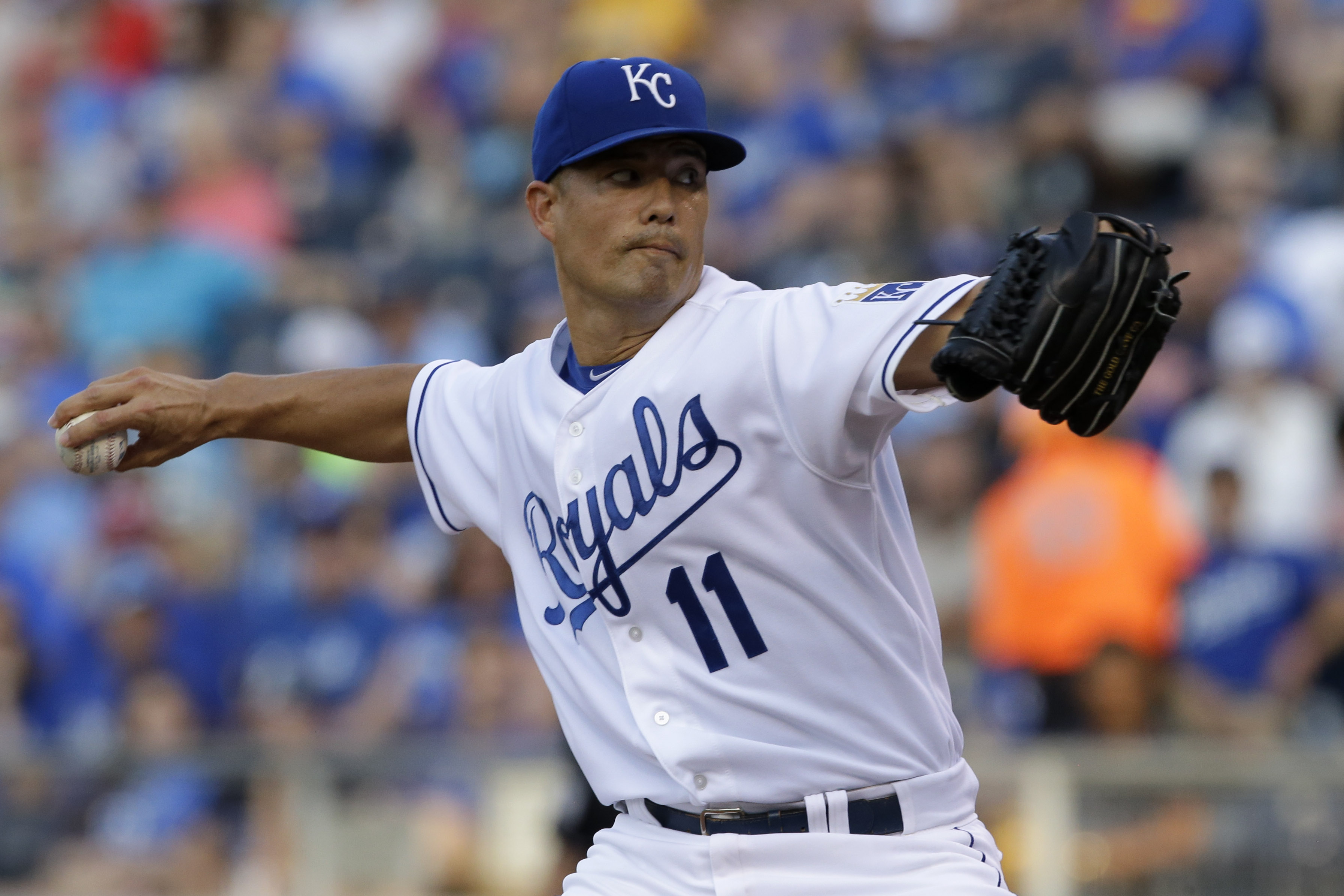 Kansas City Royals starting pitcher Jeremy Guthrie delivers to a Minnesota Twins batter during the first inning of a baseball game at Kauffman Stadium in Kansas City, Mo., Friday, July 3, 2015.